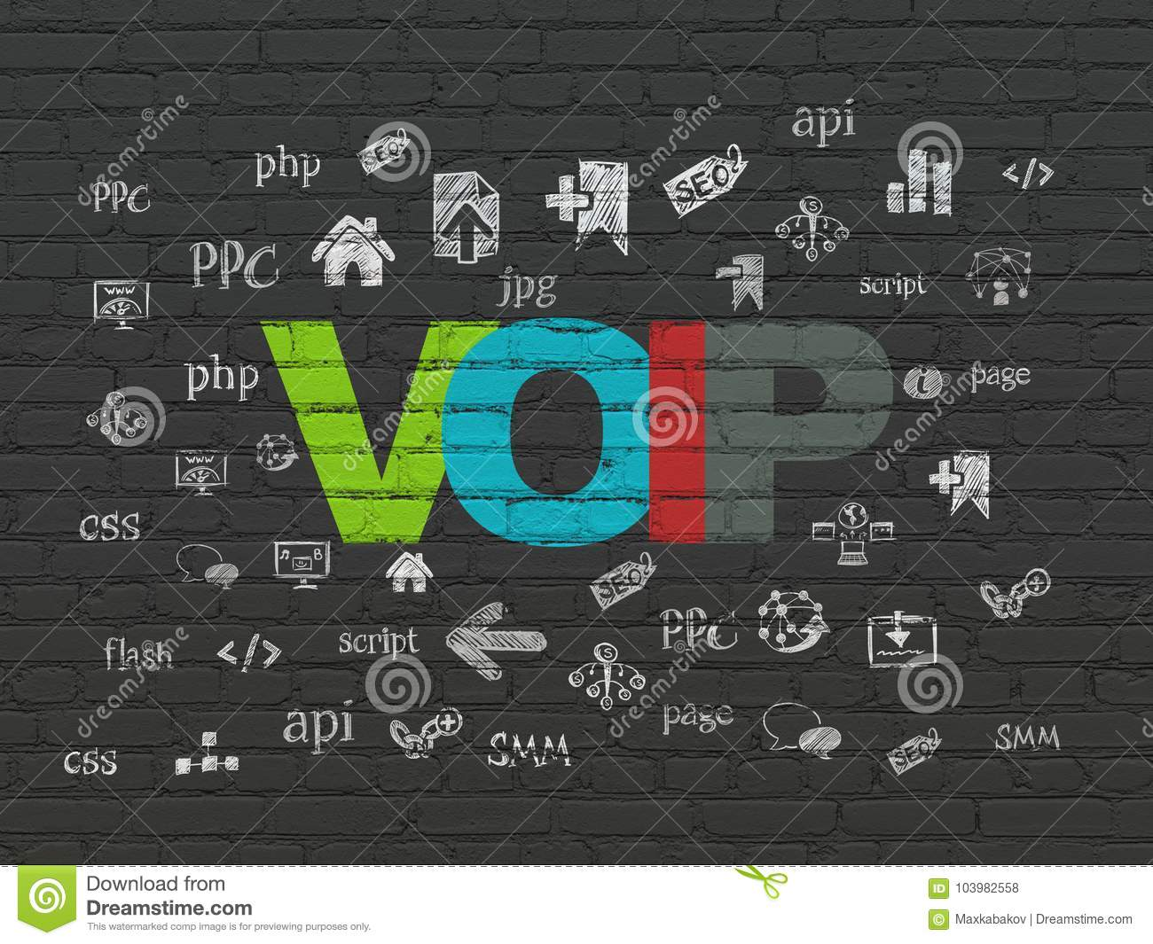 Web Design Concept: VOIP On Wall Background Stock