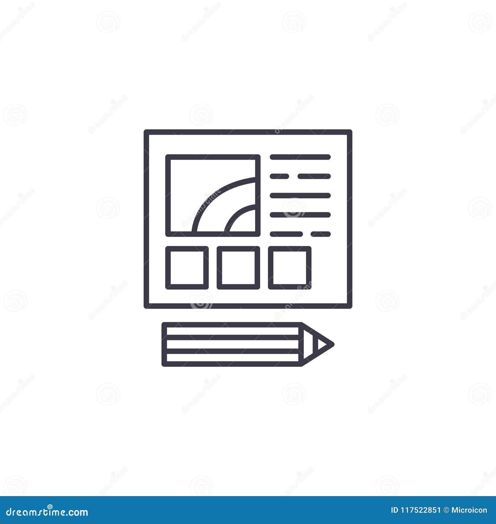 Web design development linear icon concept. Web design development line vector sign, symbol, illustration.