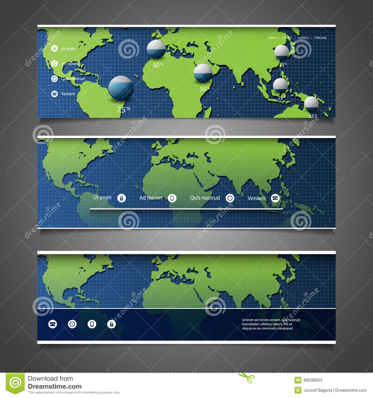 Footer Site Map: Header Designs With World Map Stock
