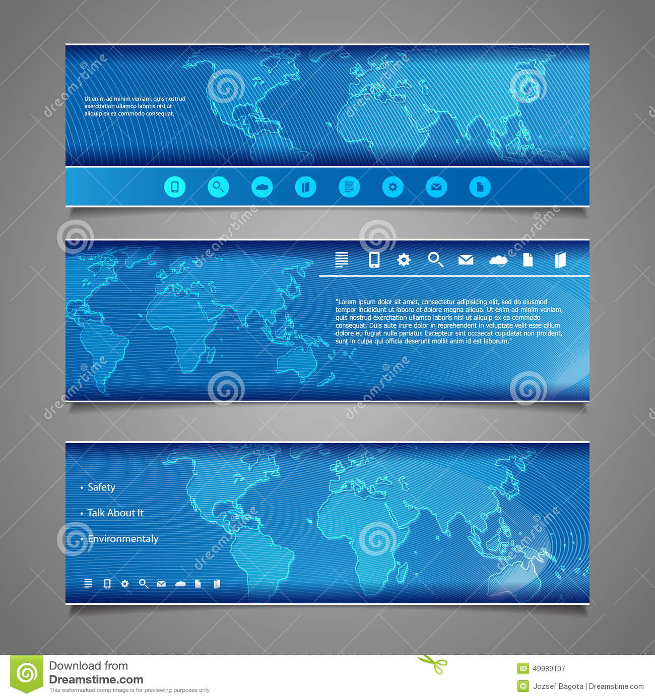 Map Design Website Template: Header Designs With World Map Stock