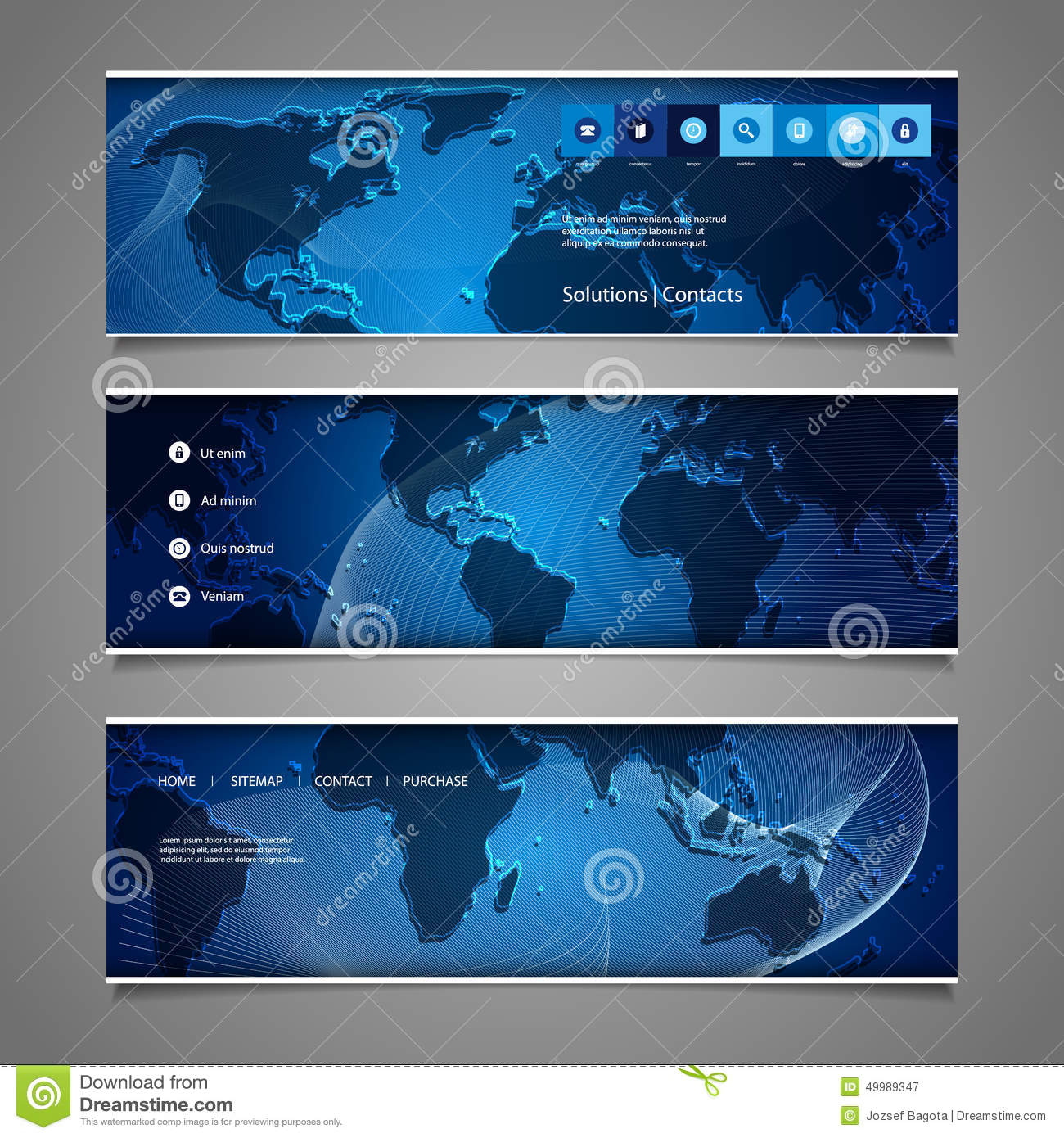 Web design elements header designs with world map stock vector web design elements header designs with world map gumiabroncs Choice Image