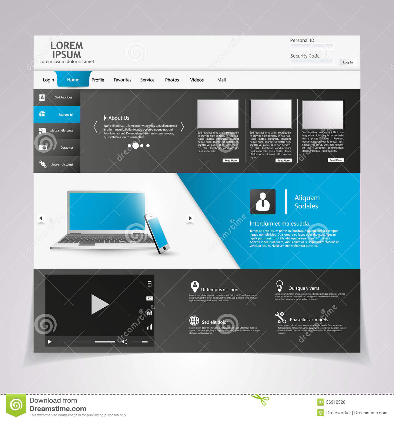 Web Design Elements. Templates For Website. Royalty Free Stock ...