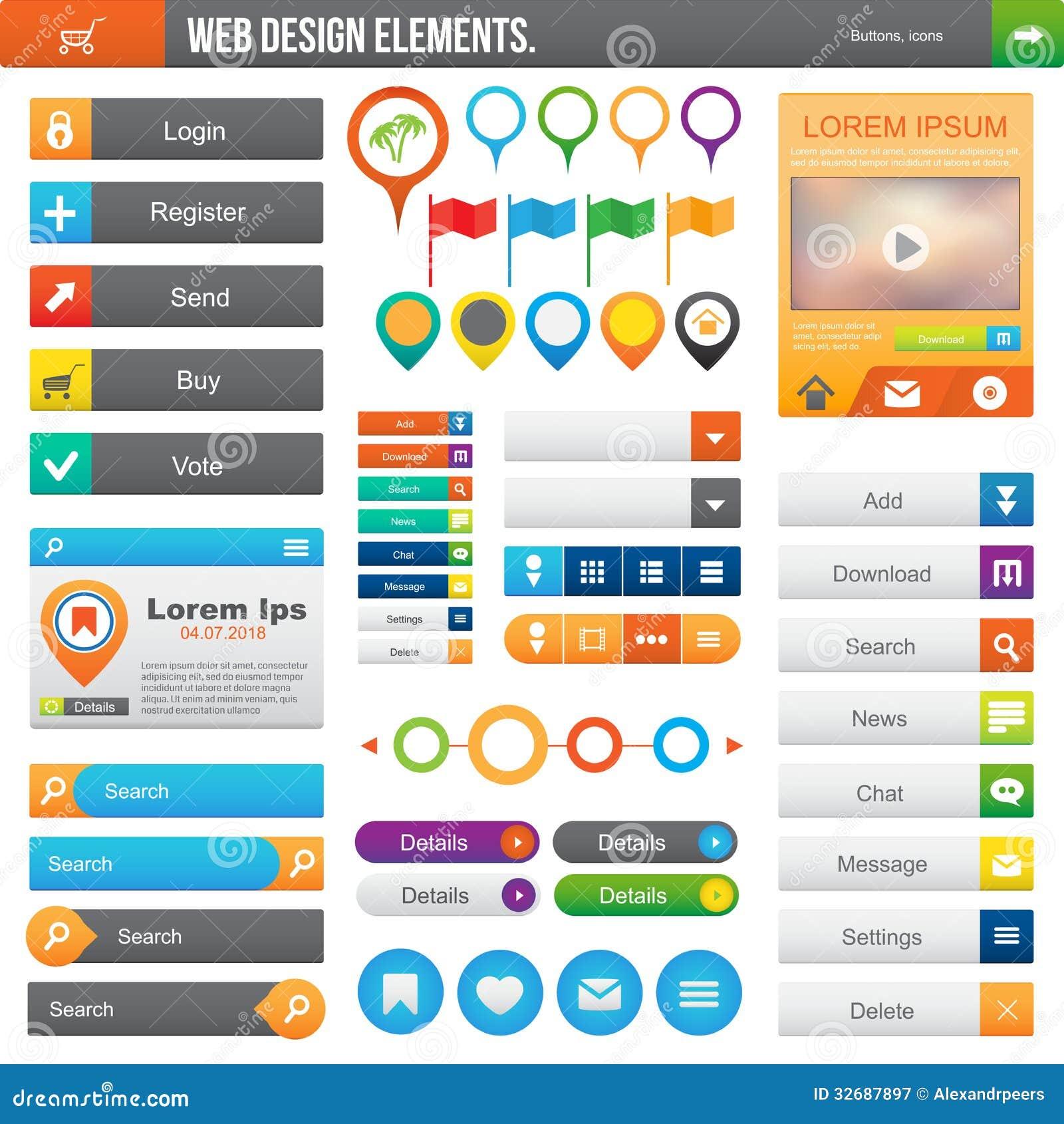 Elements For Design : Web design elements stock vector illustration of menu