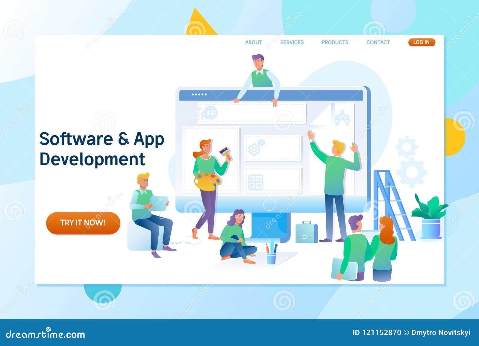 Web design et développement Site en construction Illustration plate de vecteur