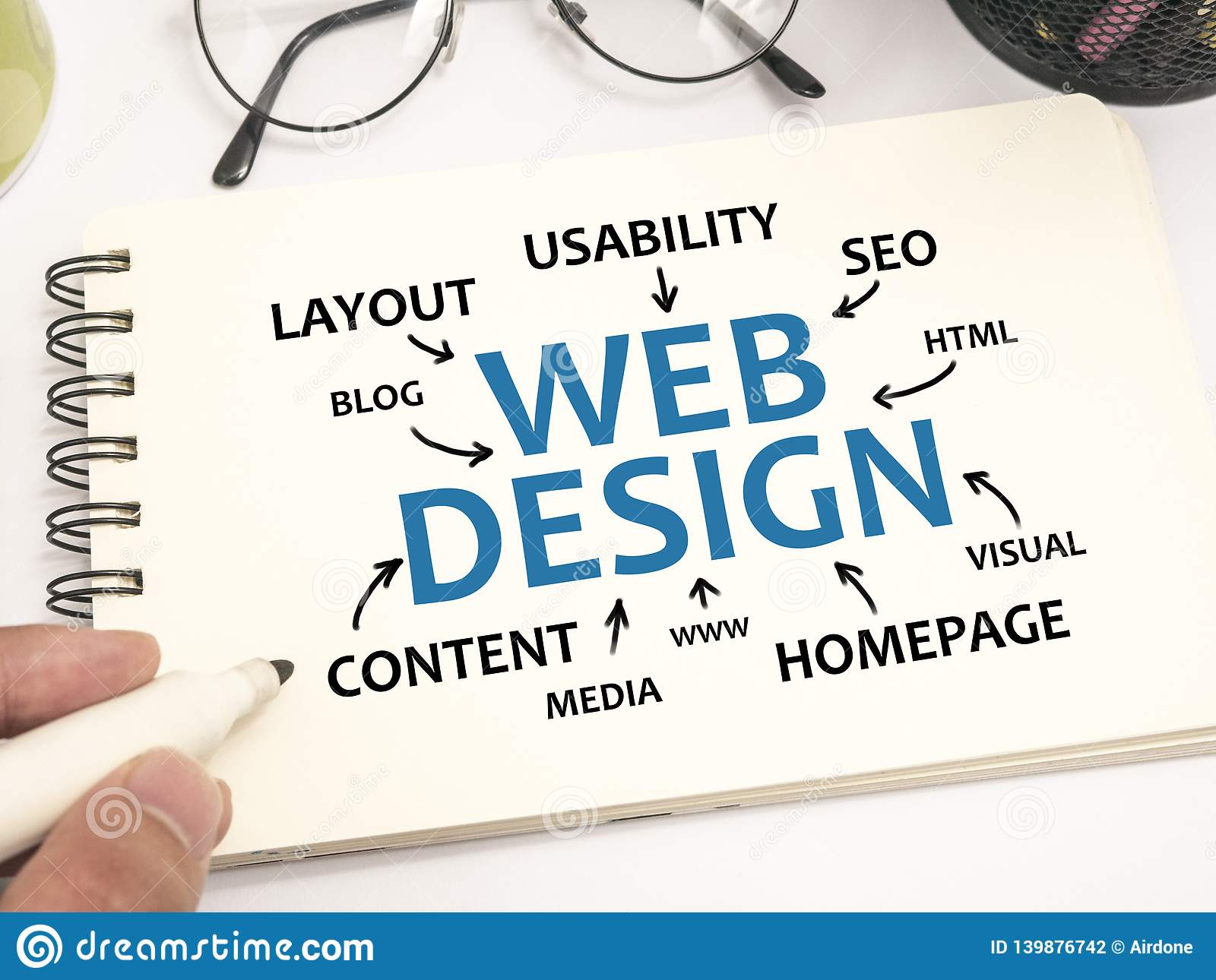Web Design, Internet Technology Words Quotes Concept Stock