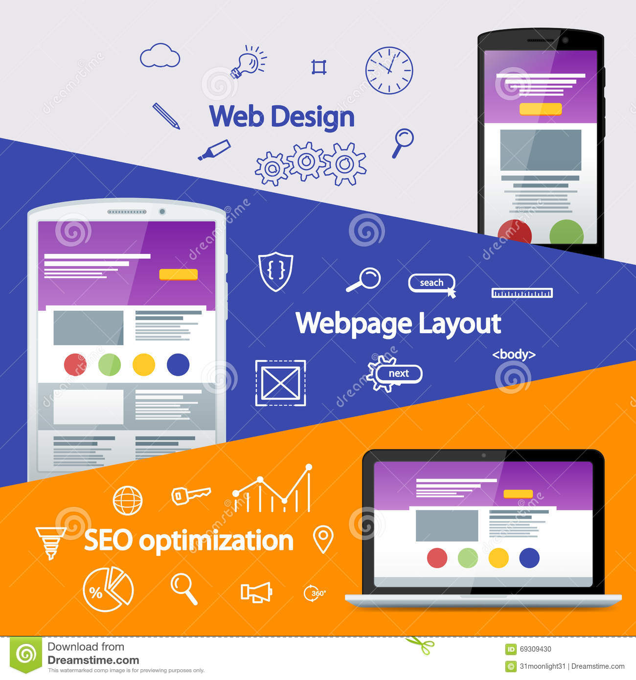 Web Design Layout Of Sites  Seo Promotion  Flat Material