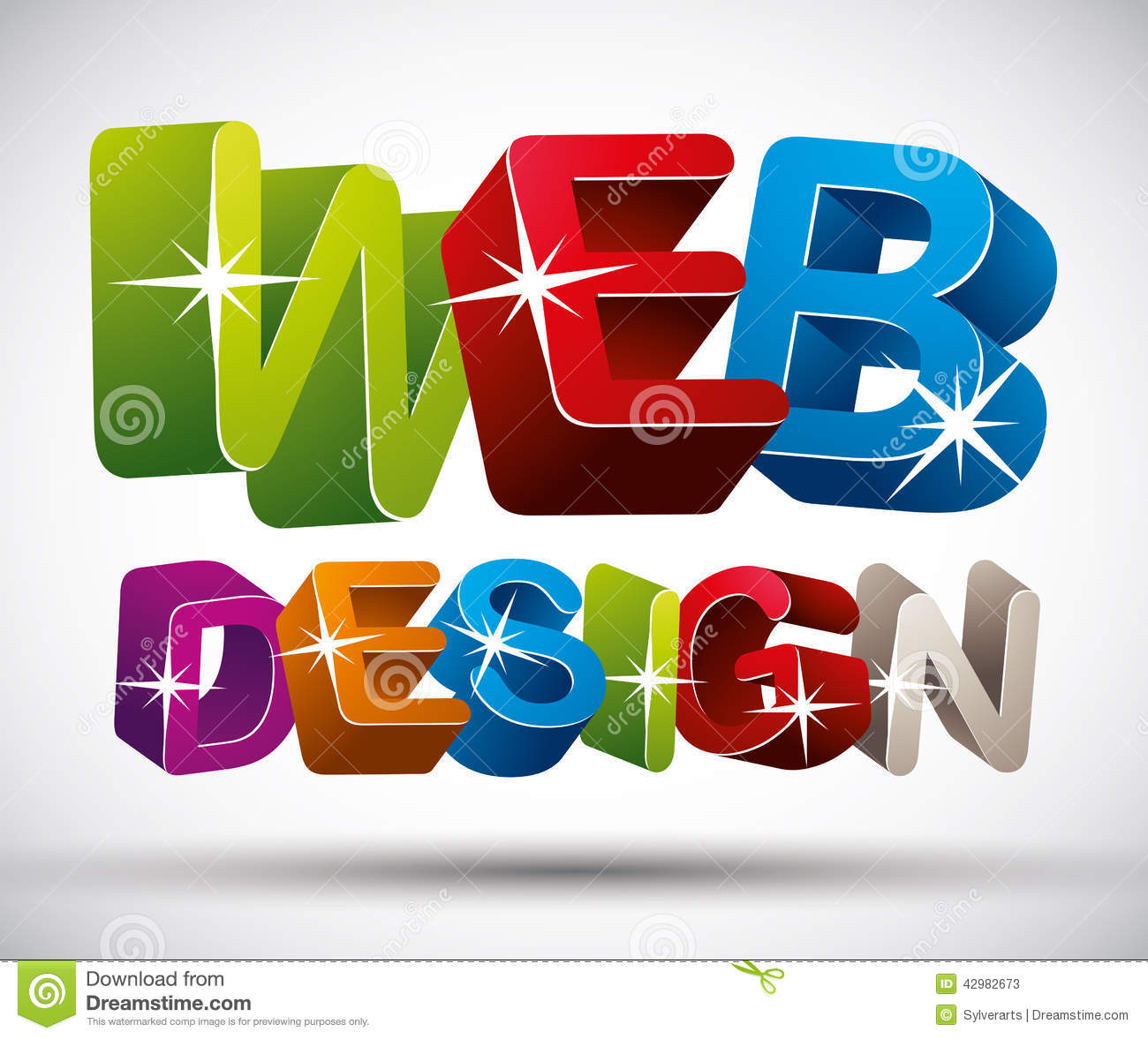 Web Design Lettering Made With Colorful 3d Letters On W Stock Vector ...