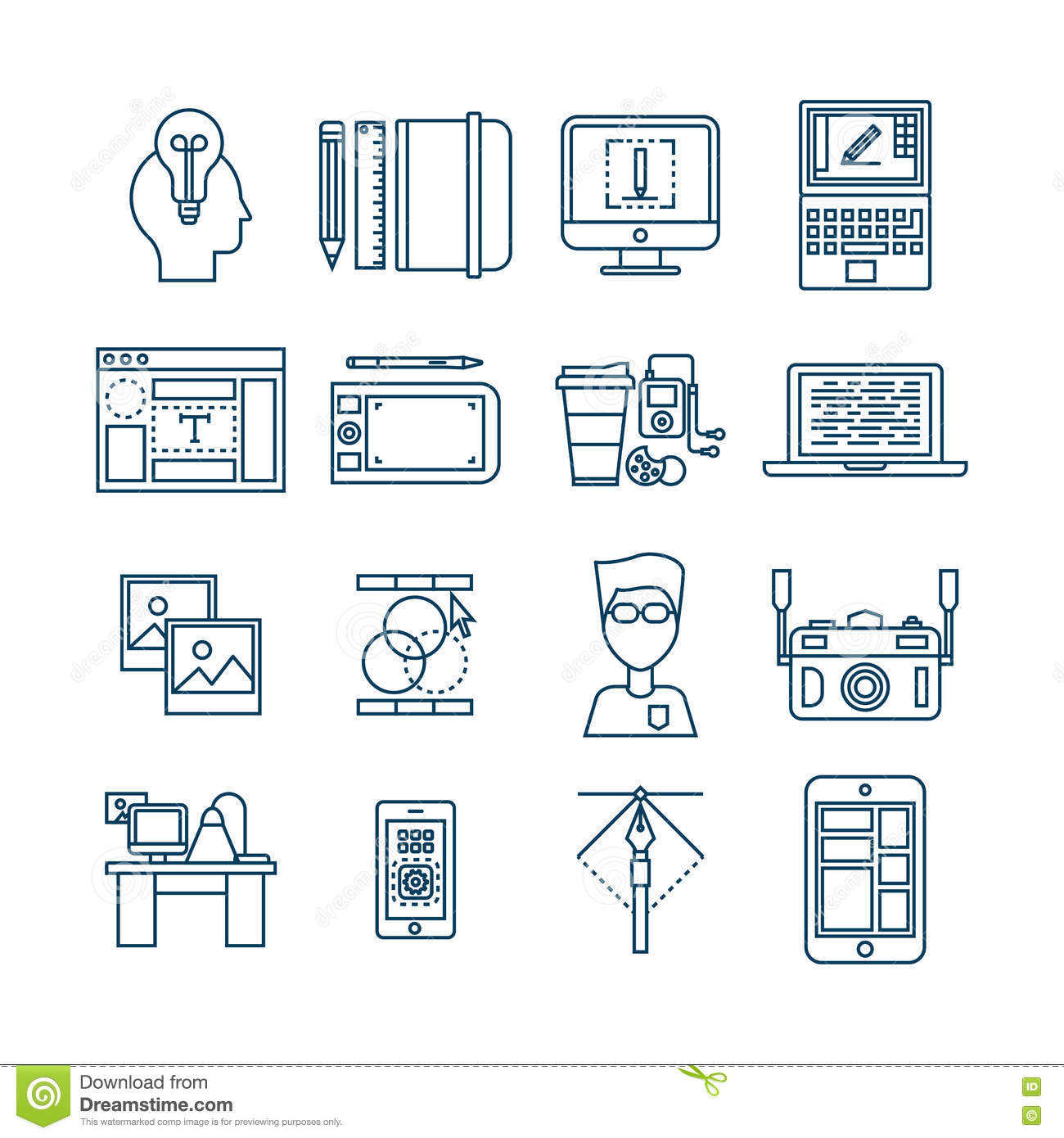 Web Design Linear Icons stock vector. Illustration of icons - 74969401