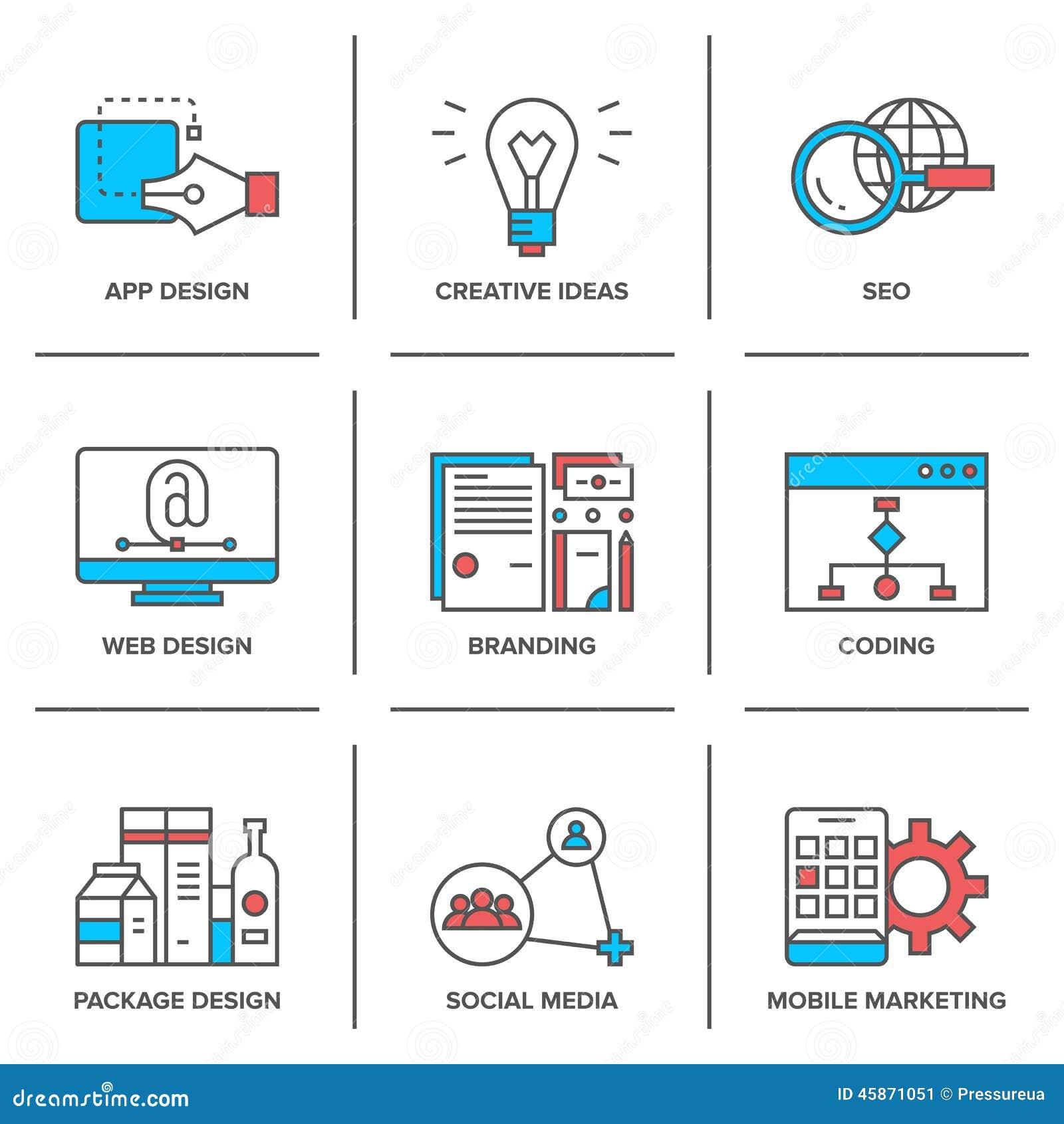 Web Design And Mobile Marketing Line Icons Set Stock Illustration ...