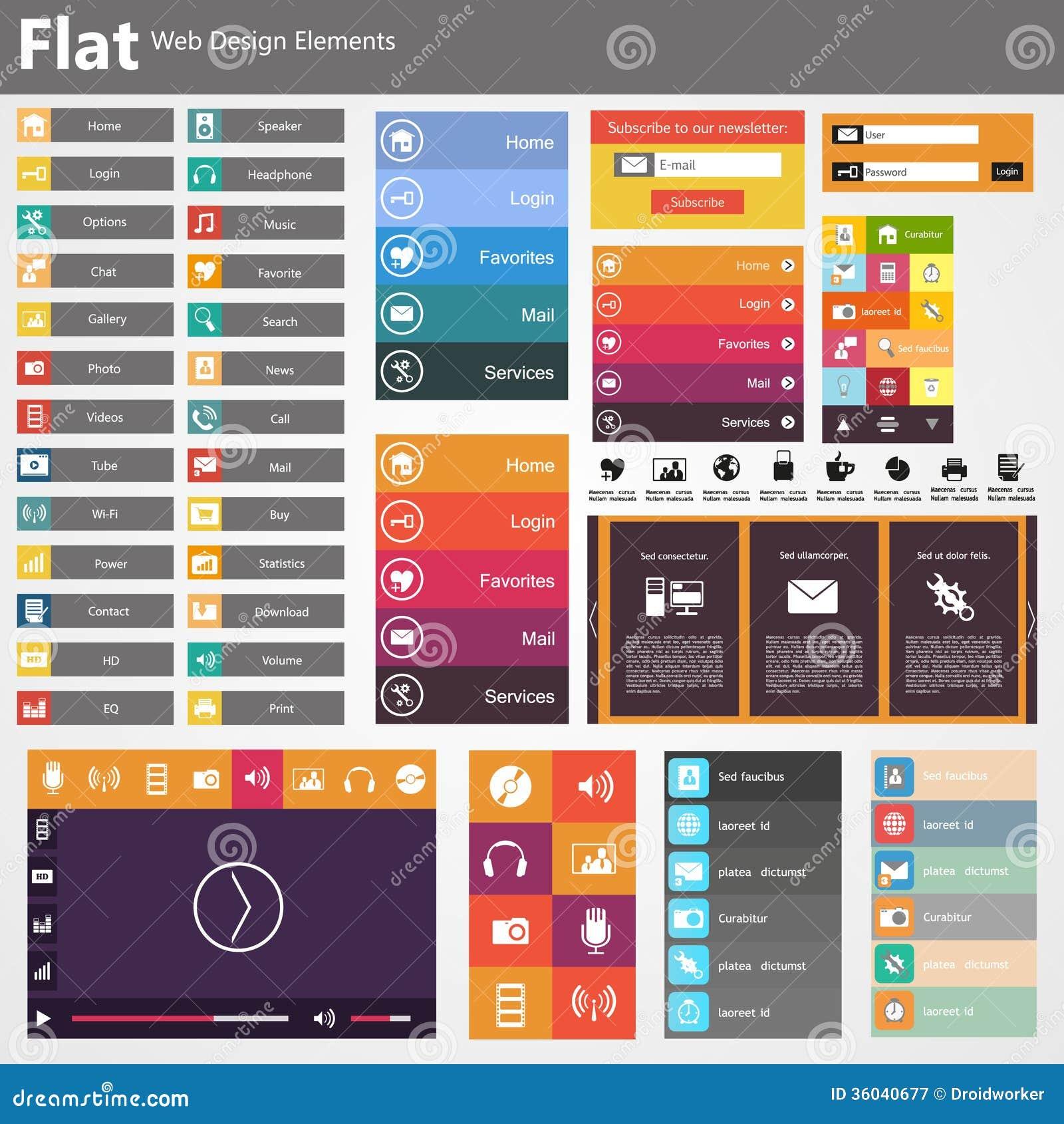 Web design piano, elementi, bottoni, icone. Modelli per il sito Web.