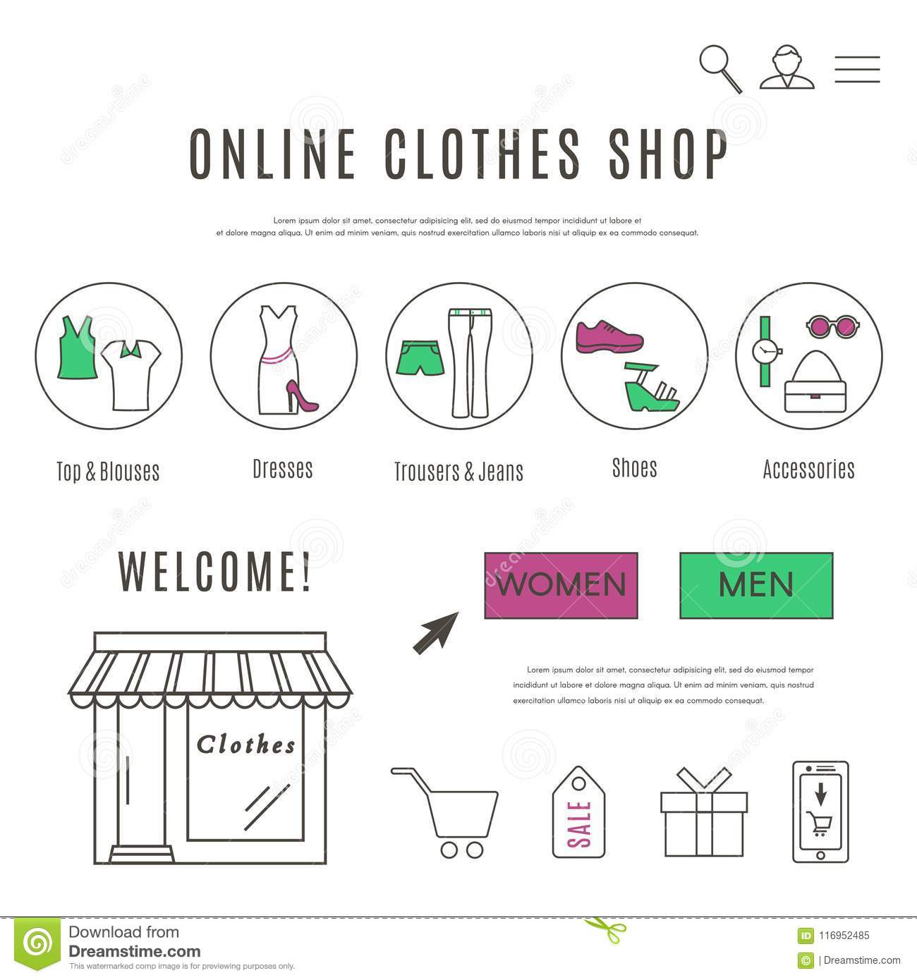 Web Design Template of Clothes and Accessories Online Shop Stock ...