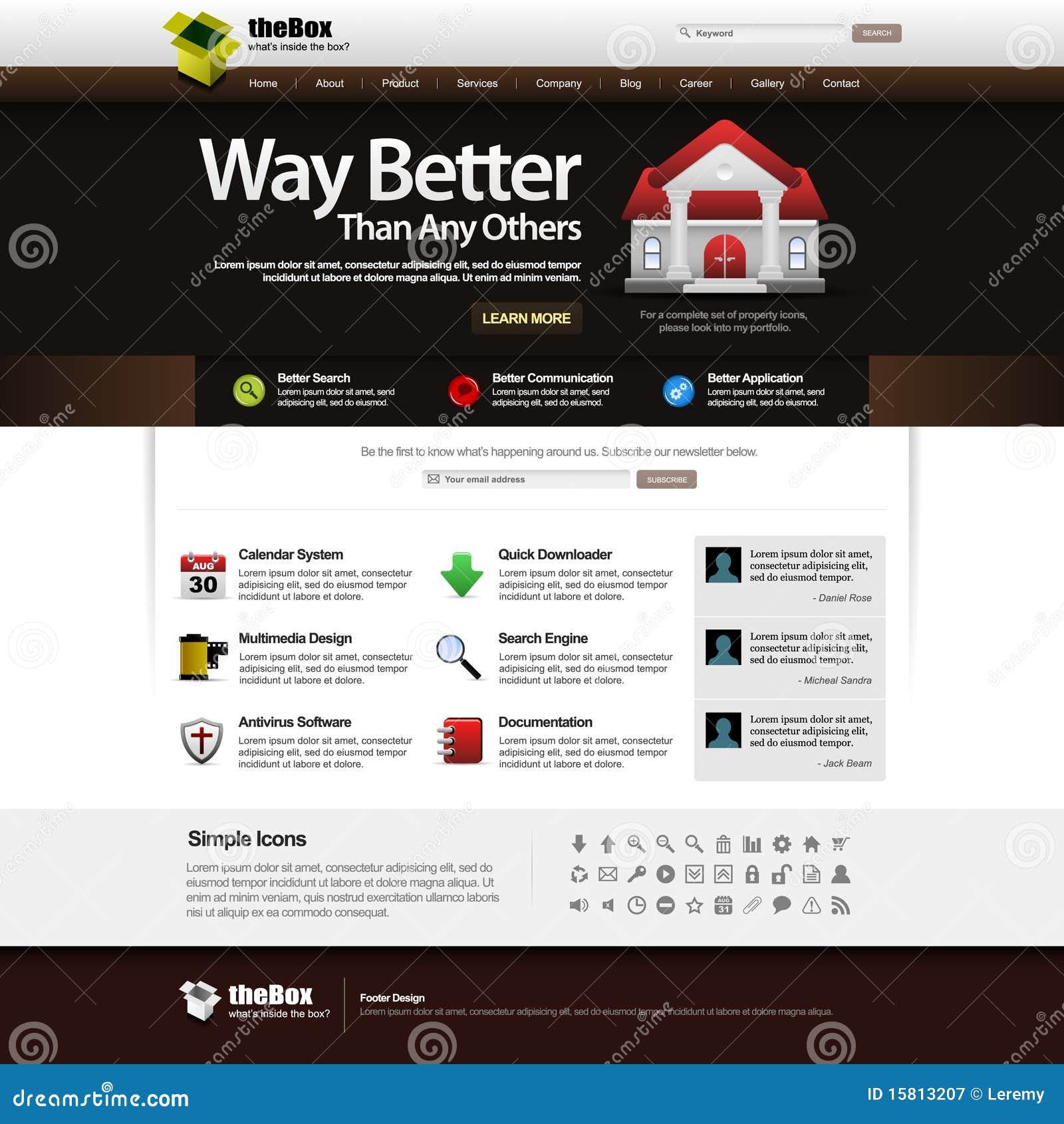 Architecture Outline Web Site: Web Design Template Element 14 (Dark Theme) Royalty Free