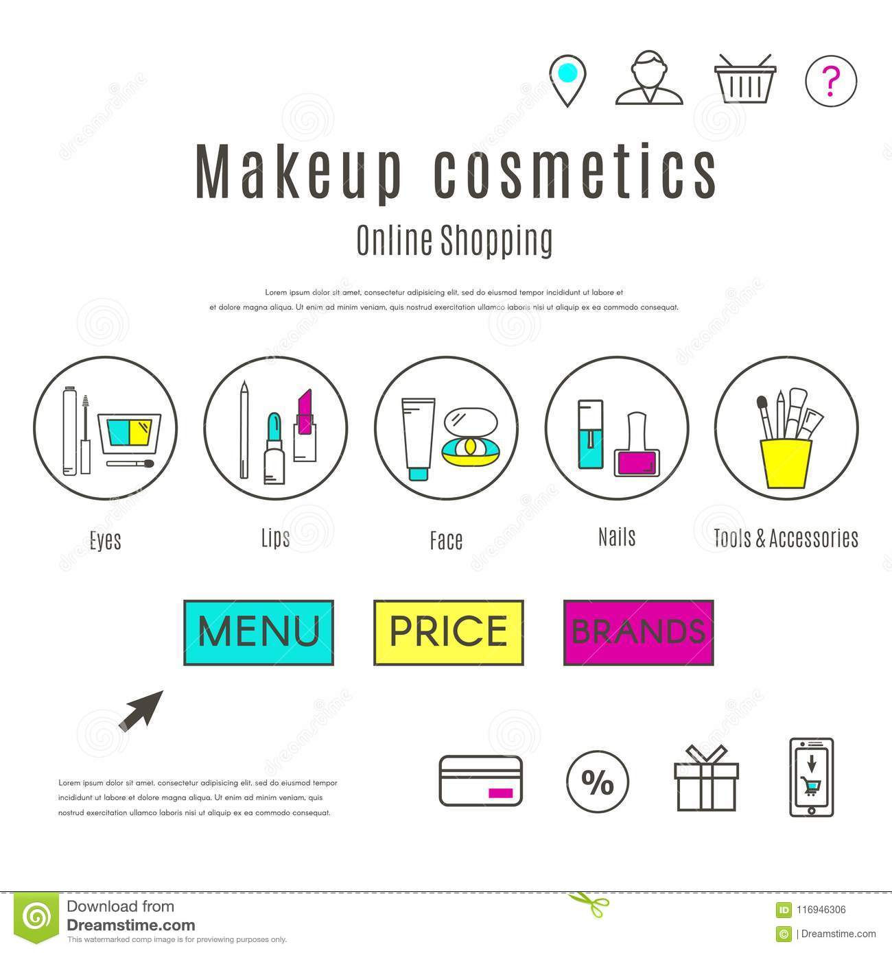 web design template of makeup and cosmetics online shop stock vector