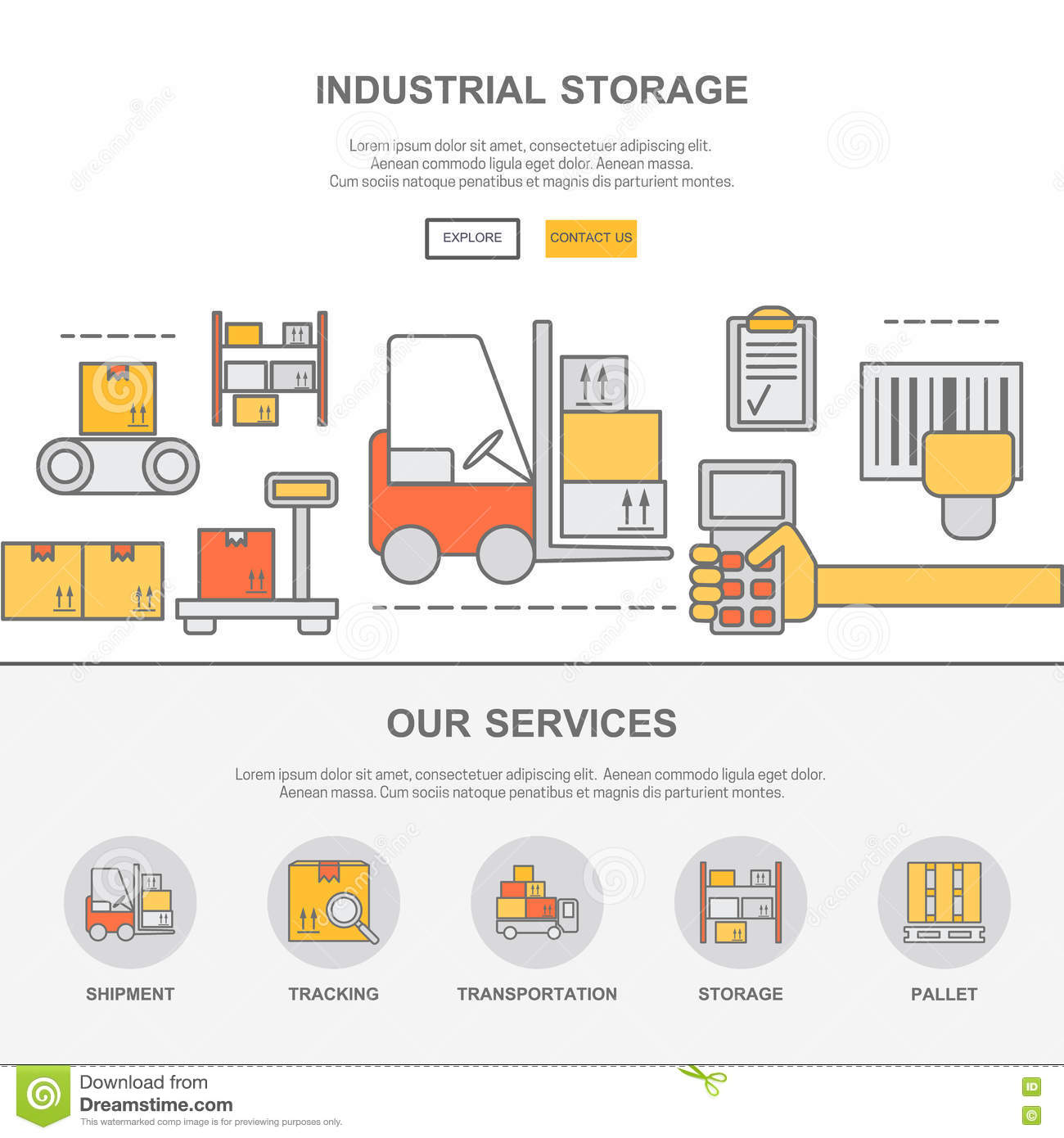Web Design Template With Thin Line Icons Of Warehouse Stock Stock