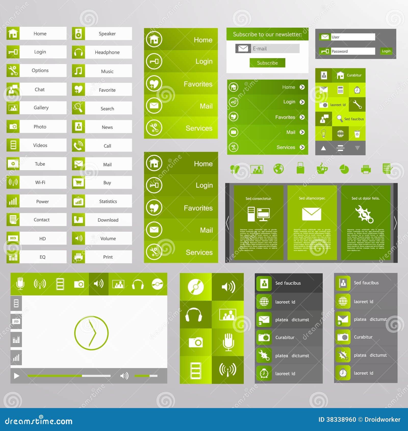 Web design verde elementi bottoni icone modelli per il for Sito web design piano piano