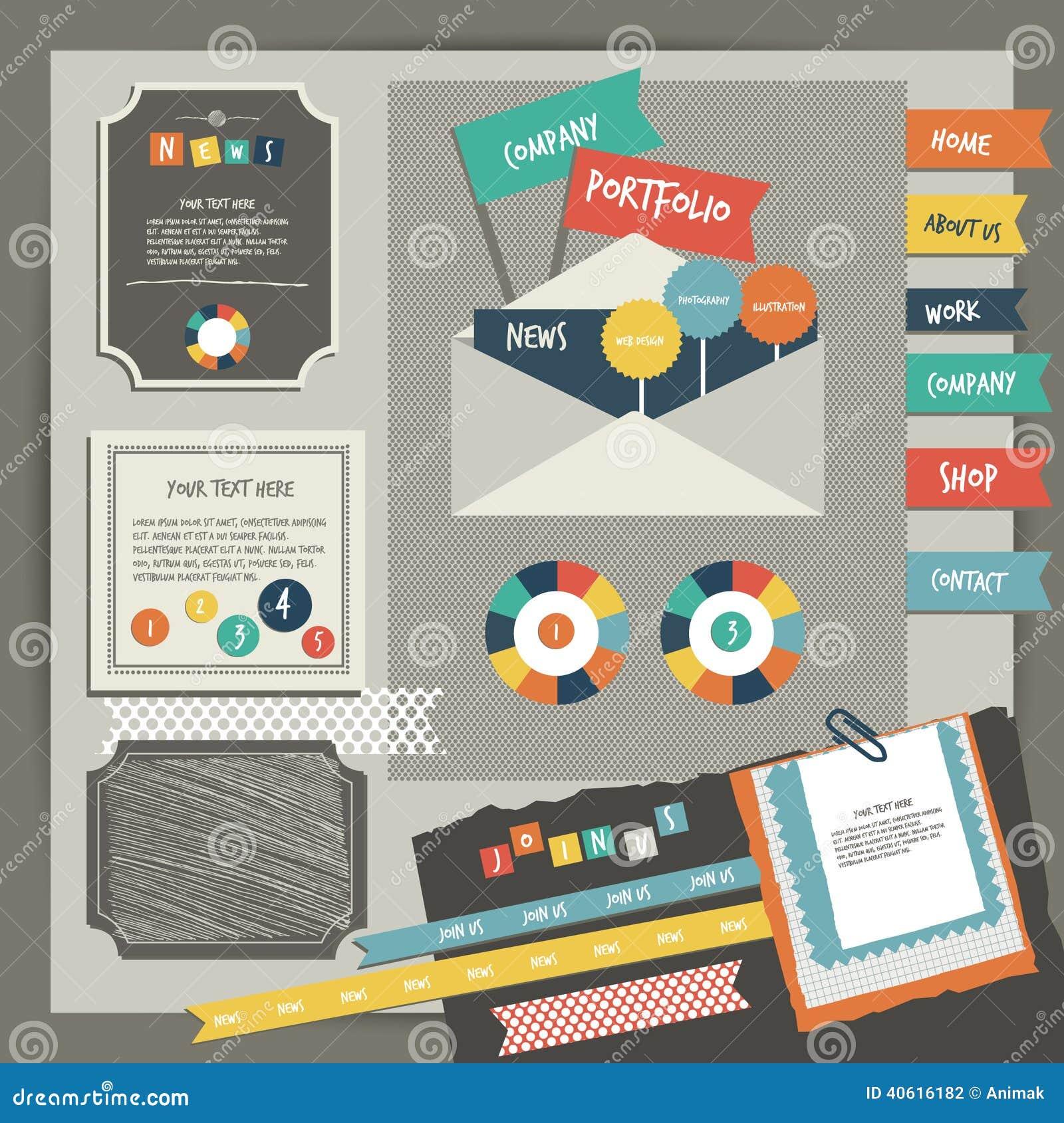 Web Design Vintage Portfolio Elements. Collection Stock Vector - Image ...