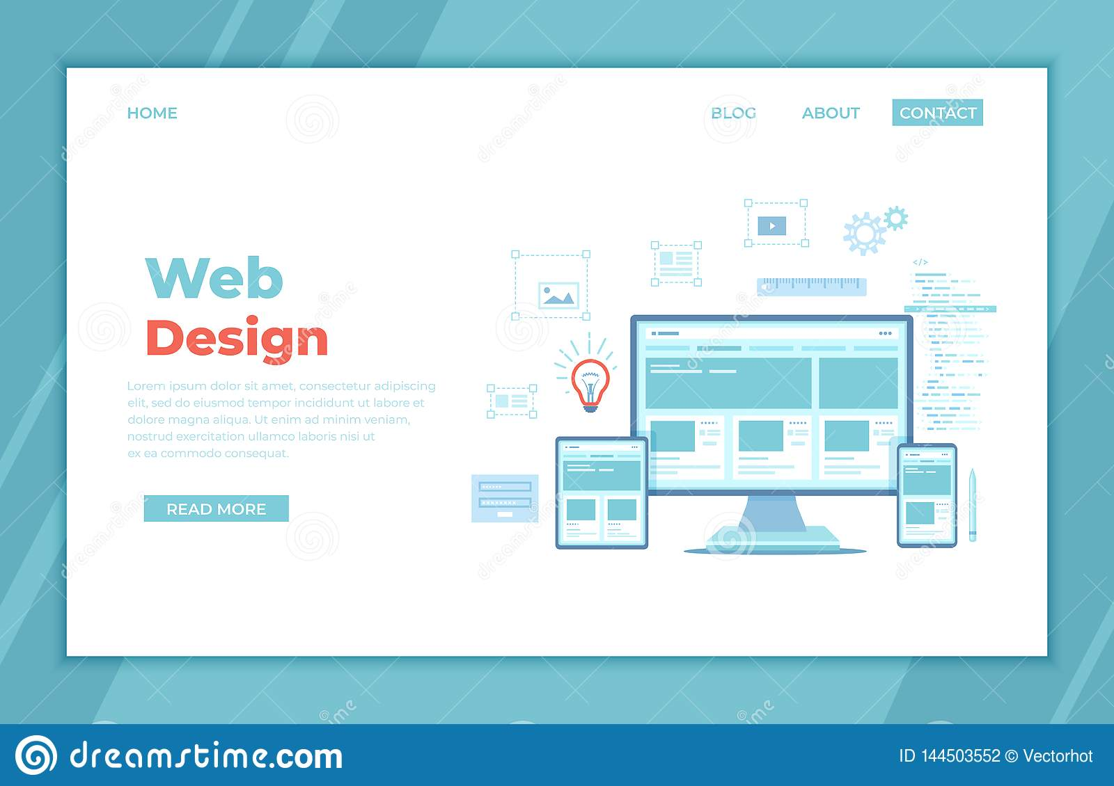 Web Design. Website template for monitor, laptop, tablet, phone. Elements for mobile and web applications. User Interface UI UX