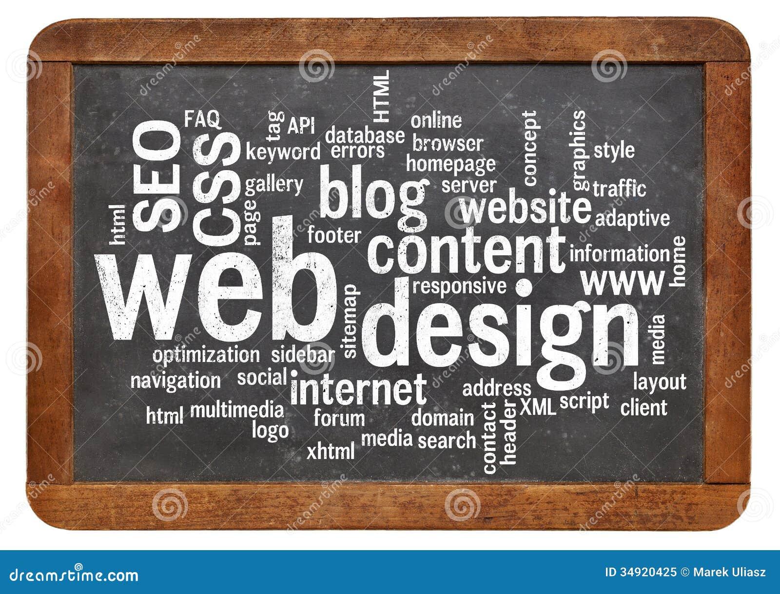 web design word cloud on blackboard stock image image of layout
