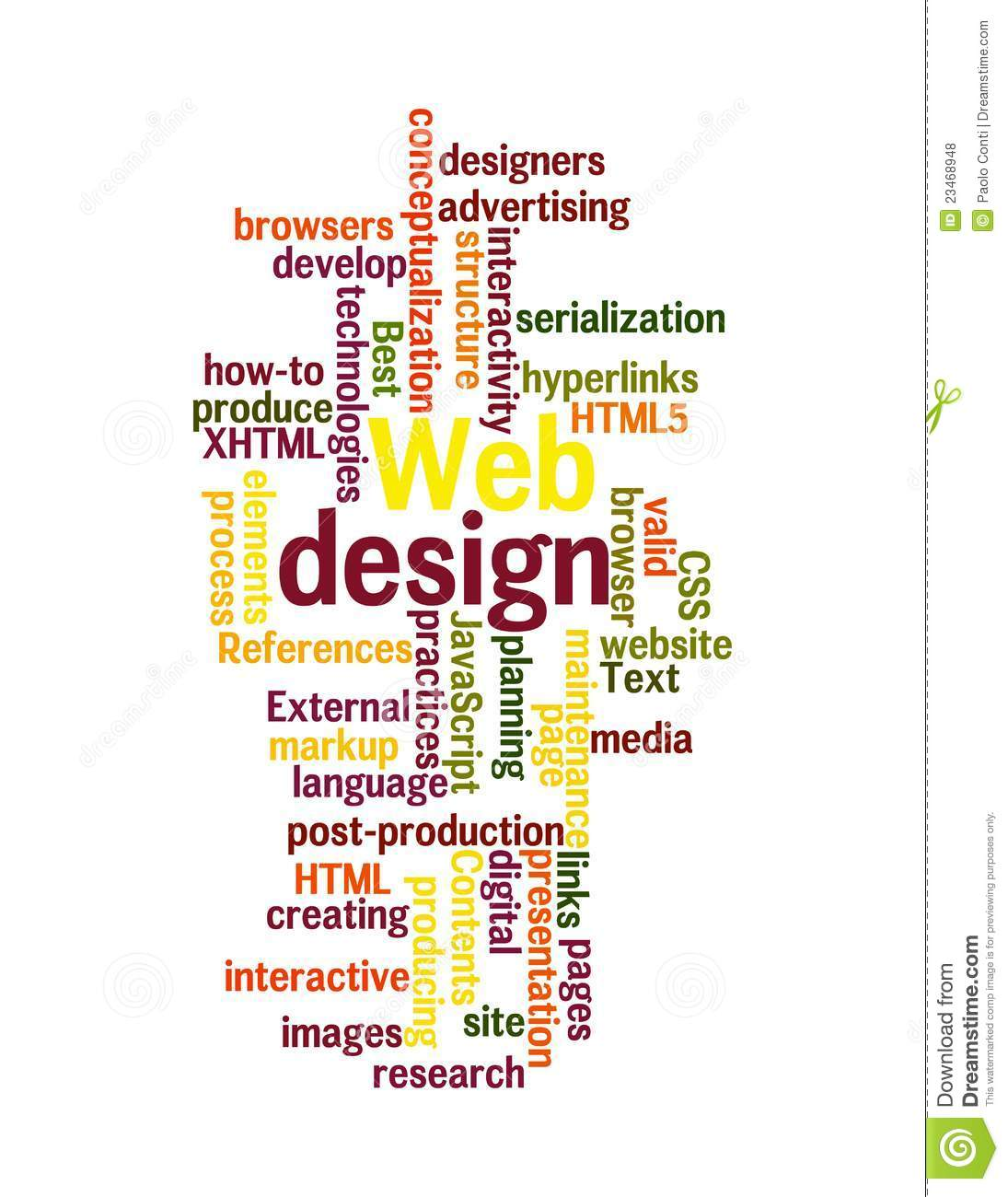 The Word Websites: Web Design Word Cloud Isolated Royalty Free Stock Photos