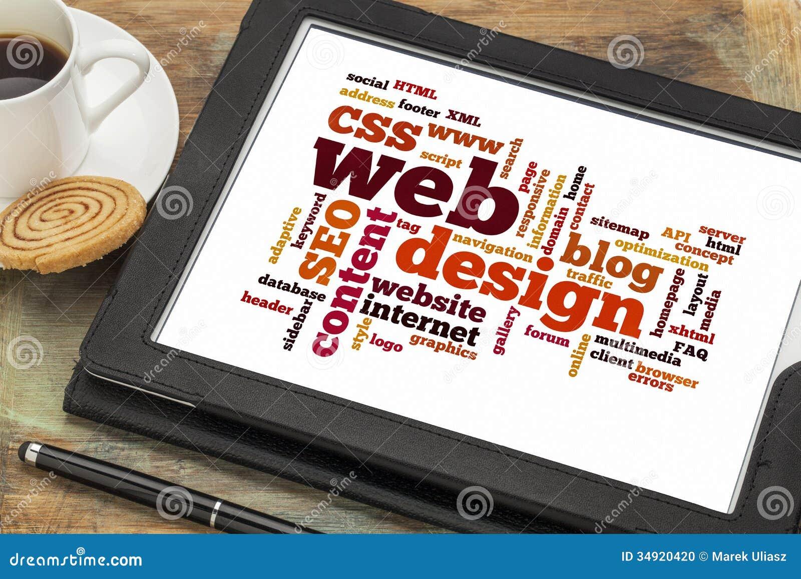 Web design word or tag cloud