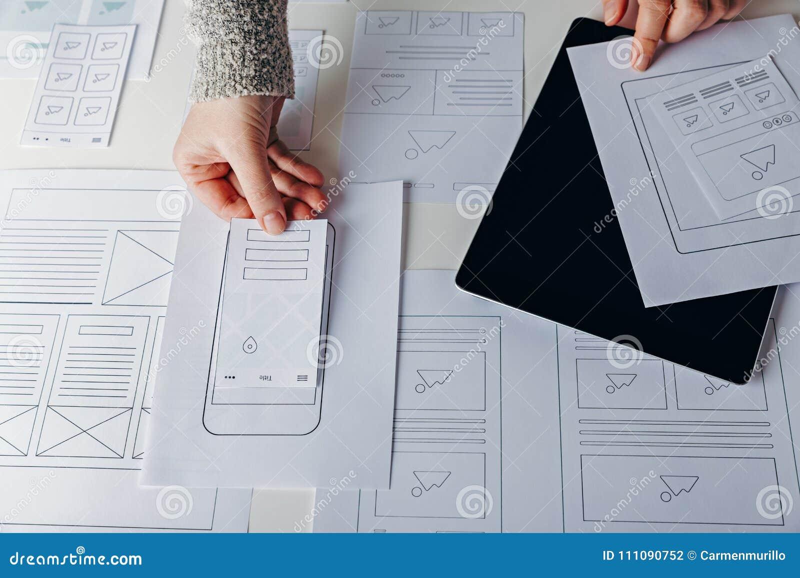 Web designer creating mobile responsive website