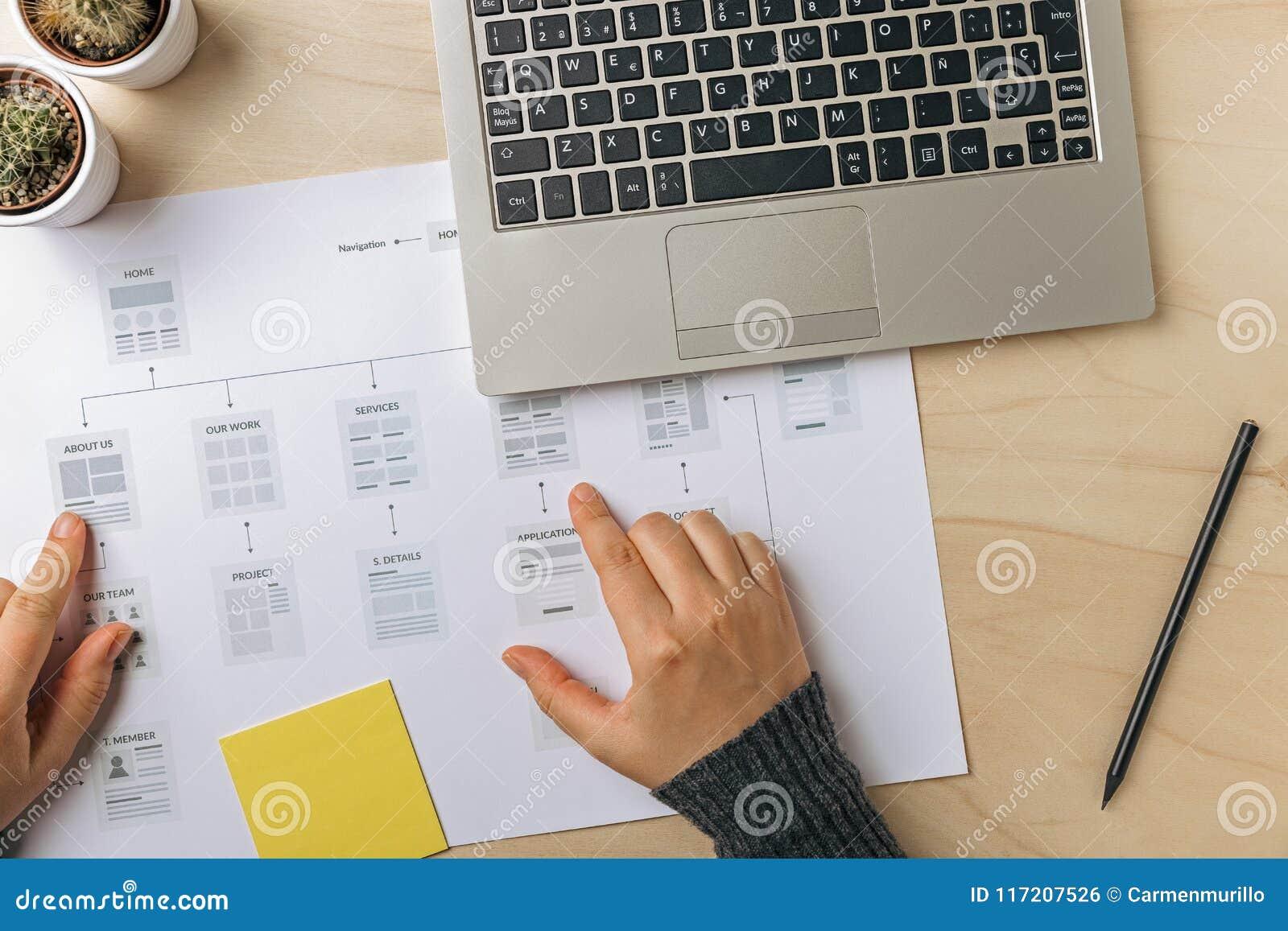 Web designer working on website sitemap