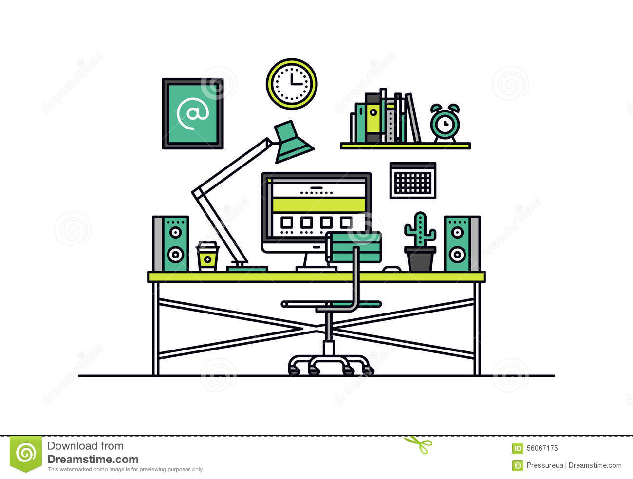 Web designer workplace line style illustration stock for The make room website