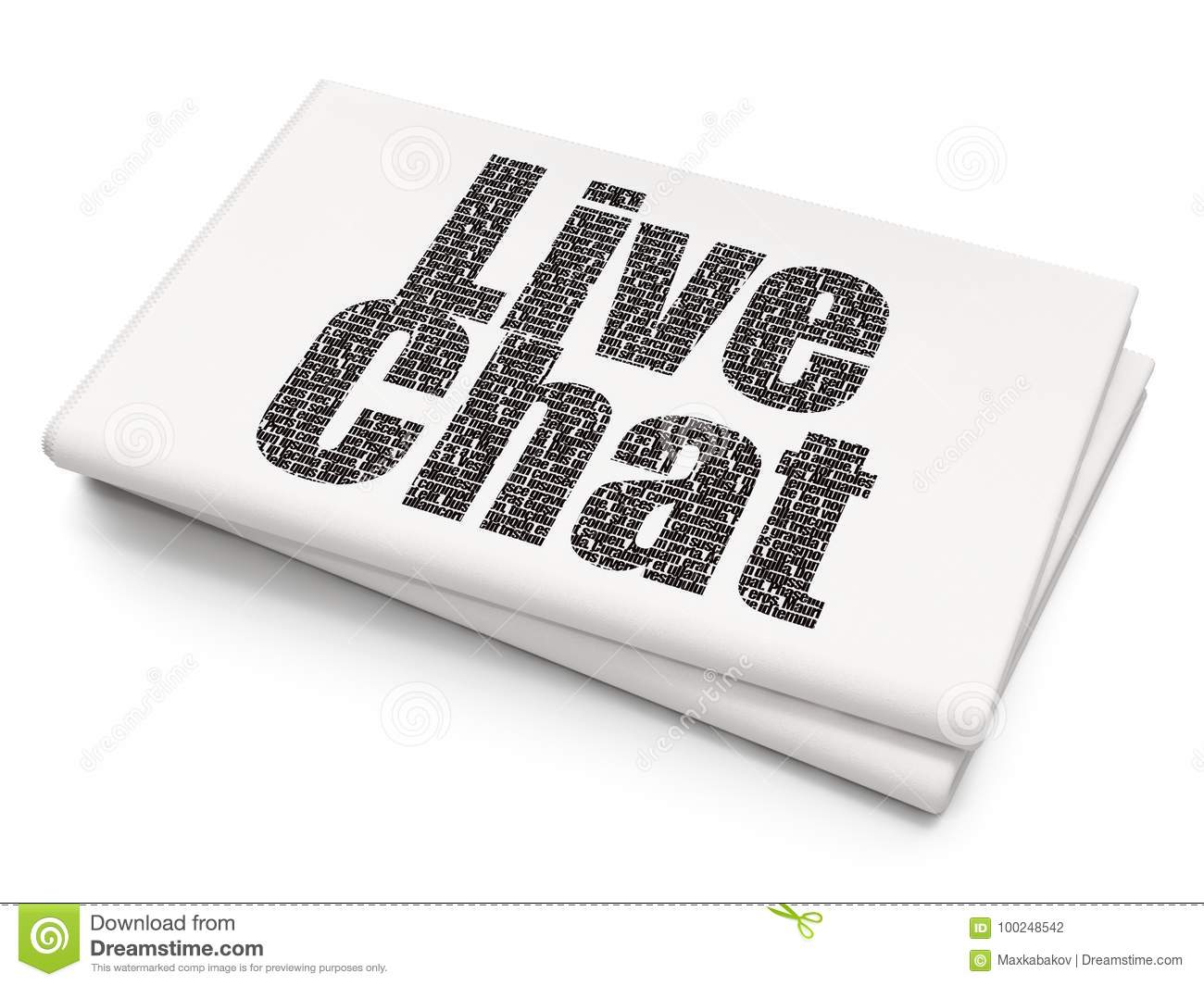 Web Development Concept Live Chat On Blank Newspaper Background