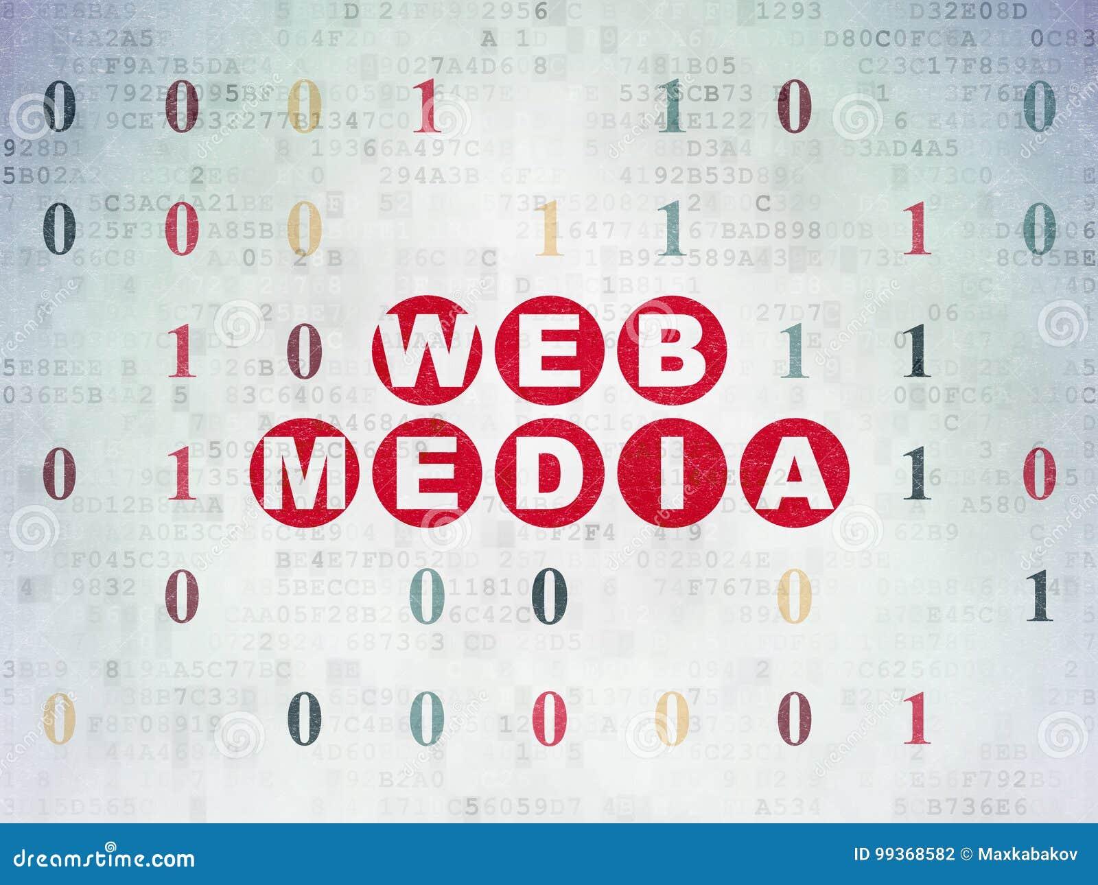 Web Development Concept Web Media On Digital Data Paper Background