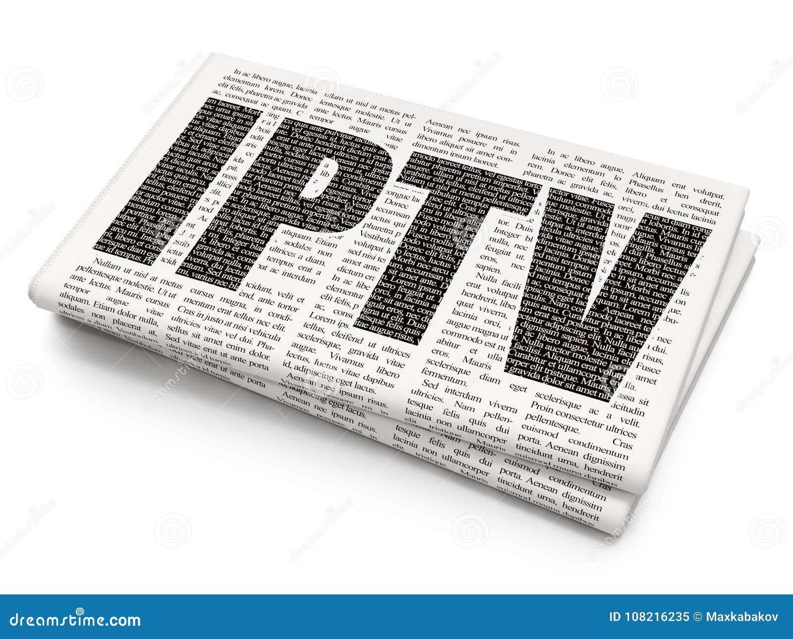 Web Development Concept: IPTV On Newspaper Background Stock