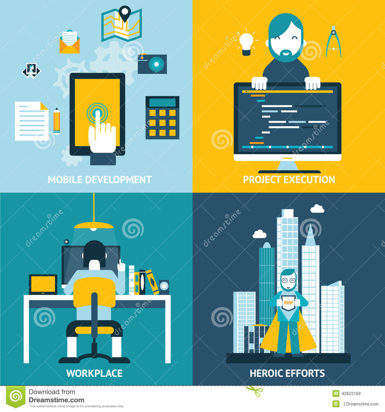 Character Design Workflow : Web development flat icons stock vector image