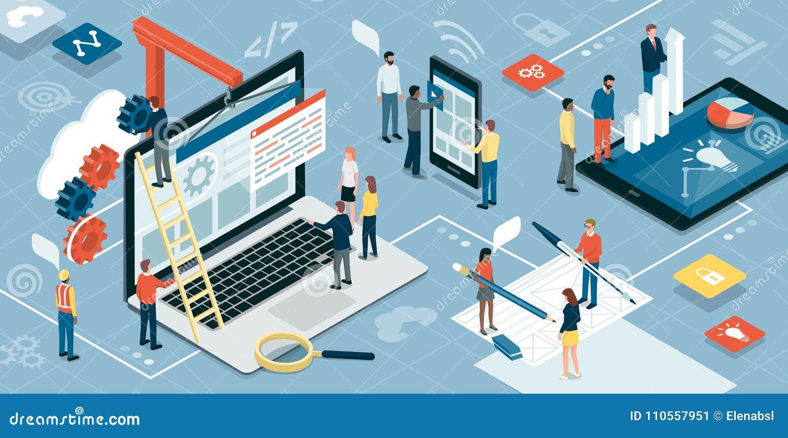 Web Development Graphic Design And Marketing Stock Vector Illustration Of Design Agency 110557951
