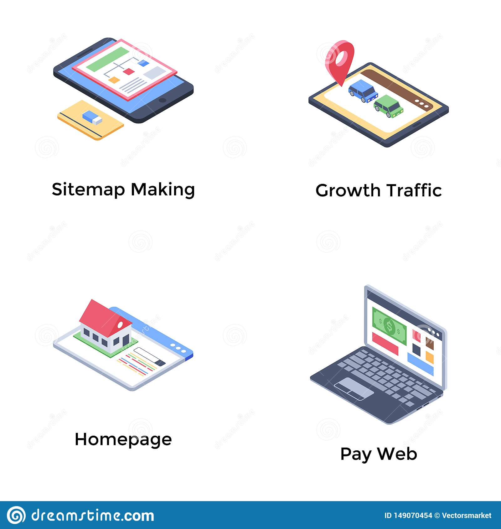 Web Development Isometric Icons Pack