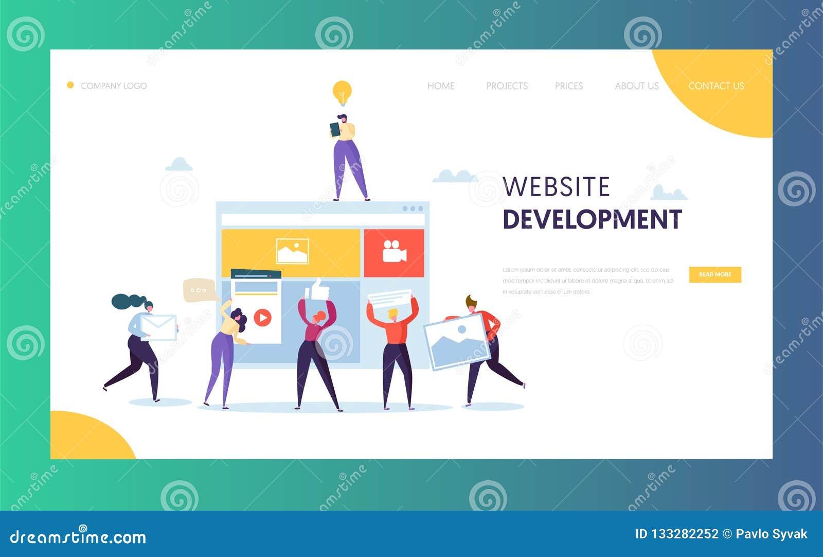 Web Development landing page template. Flat People