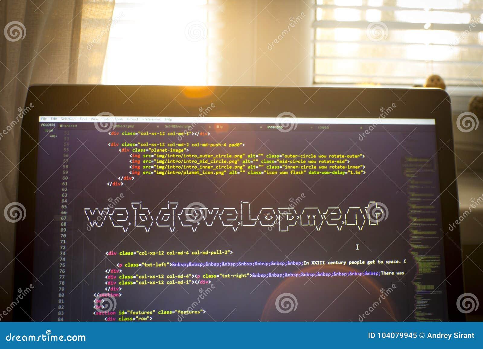 Web Development Phrase ASCII Art Inside Real HTML Code Stock