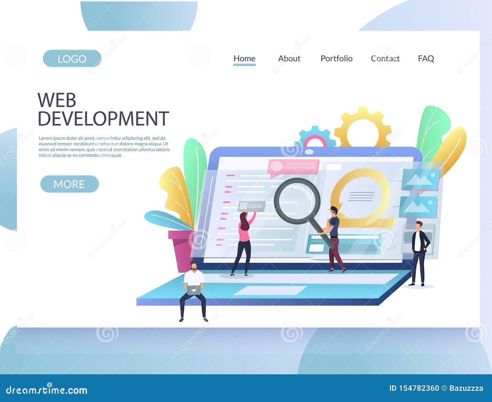 Web Development Vector Website Landing Page Design Template Stock Vector Illustration Of Design Page 154782360