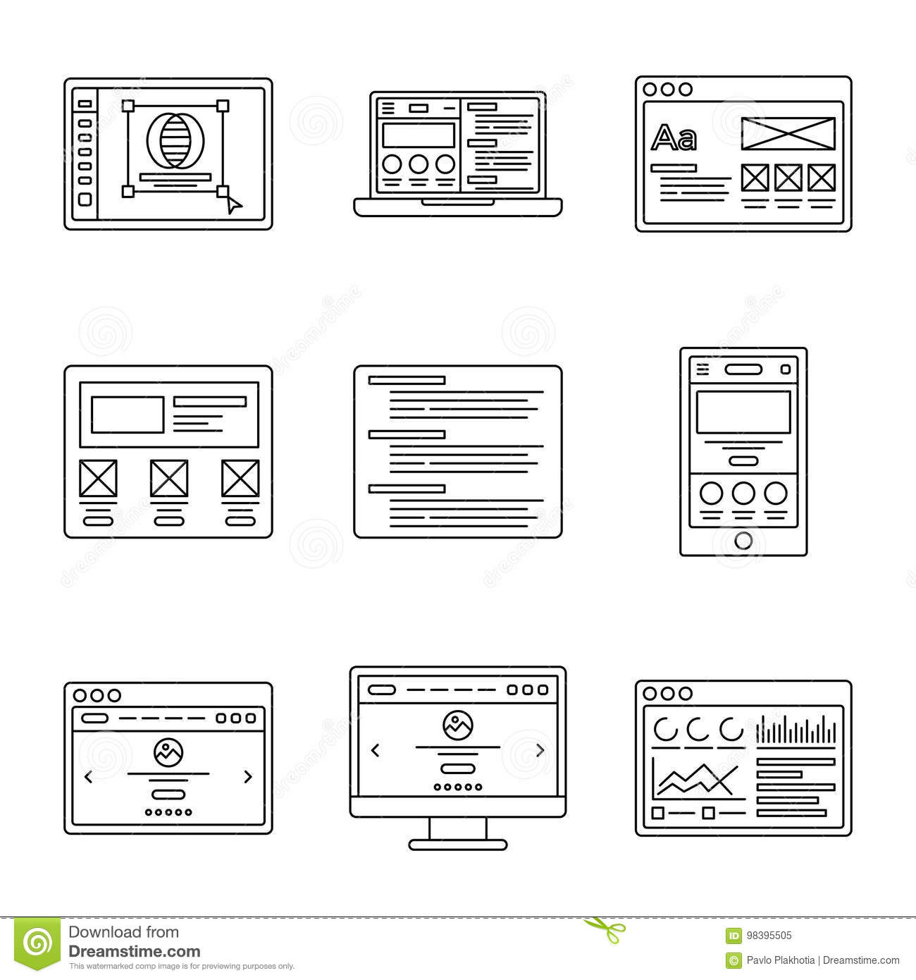 Web development and wireframes line icons set. Collection of outline illustrations for website or logo design template