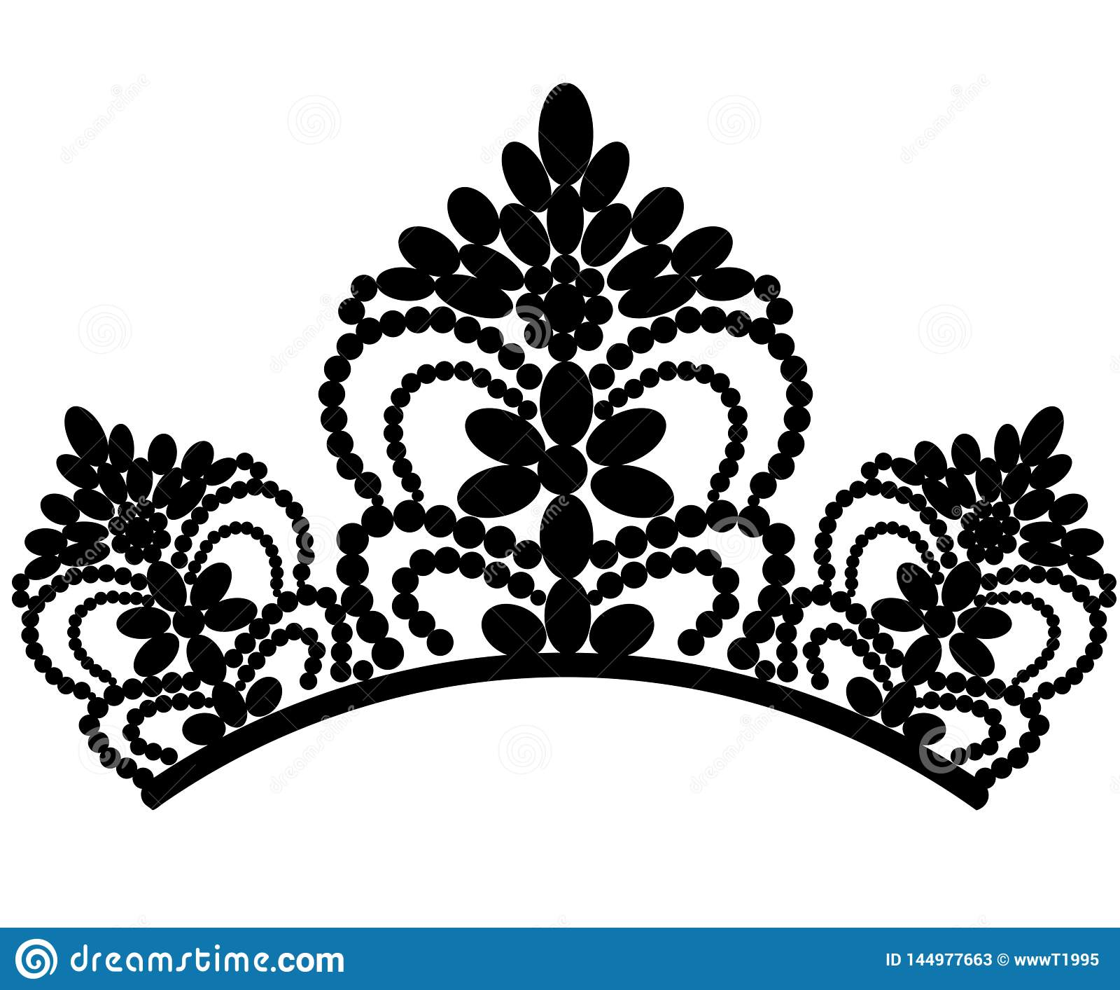 Web diadem Tiara feminino luxuosa elegante bonita com a reflex?o isolada no fundo preto Vetor