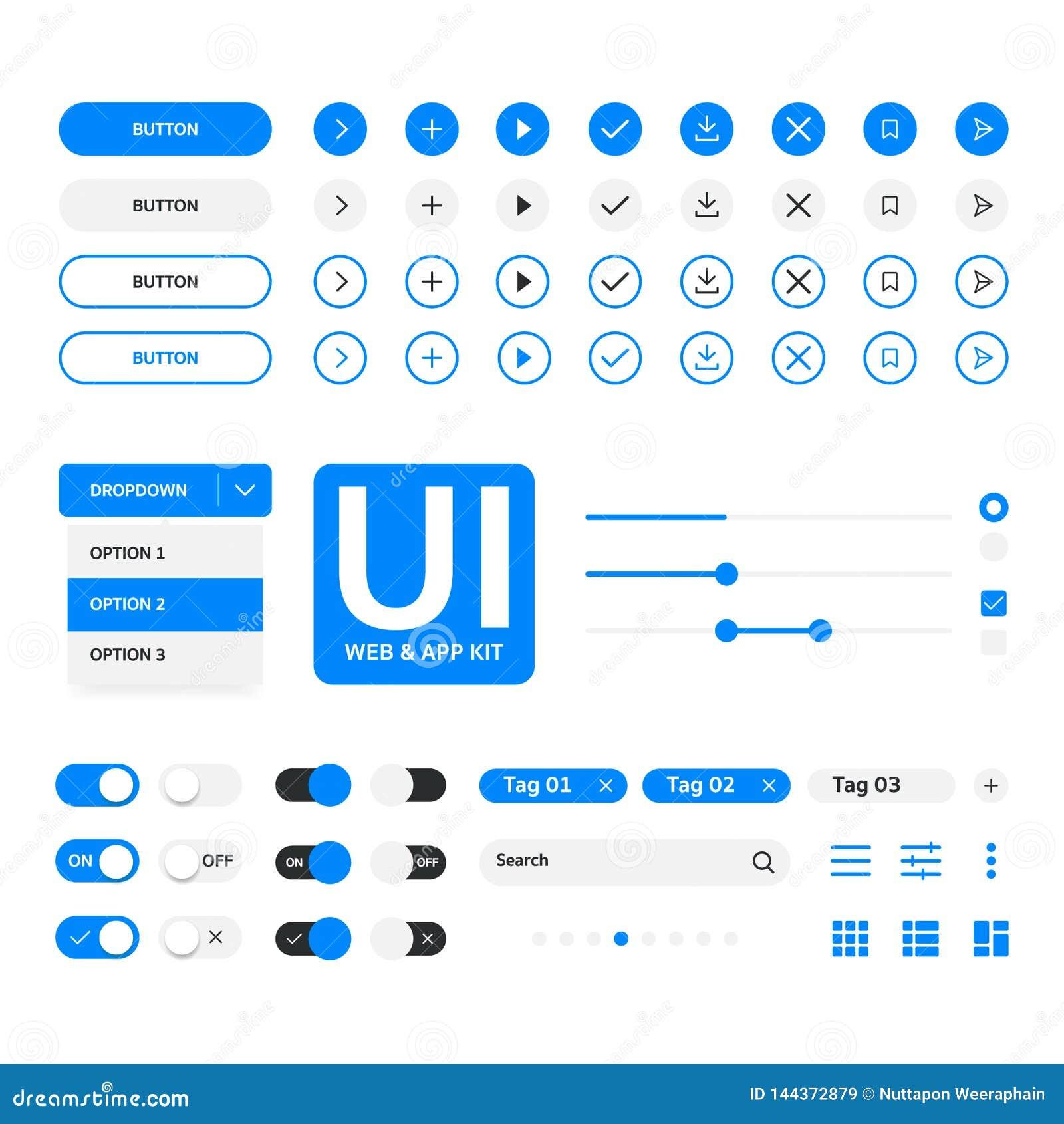 Web do jogo de UI & molde azul dos elementals da aplicação, projeto liso