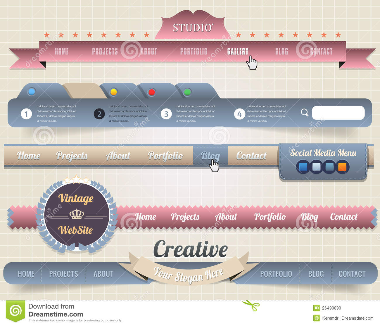 web elements vector header navigation templates stock vector