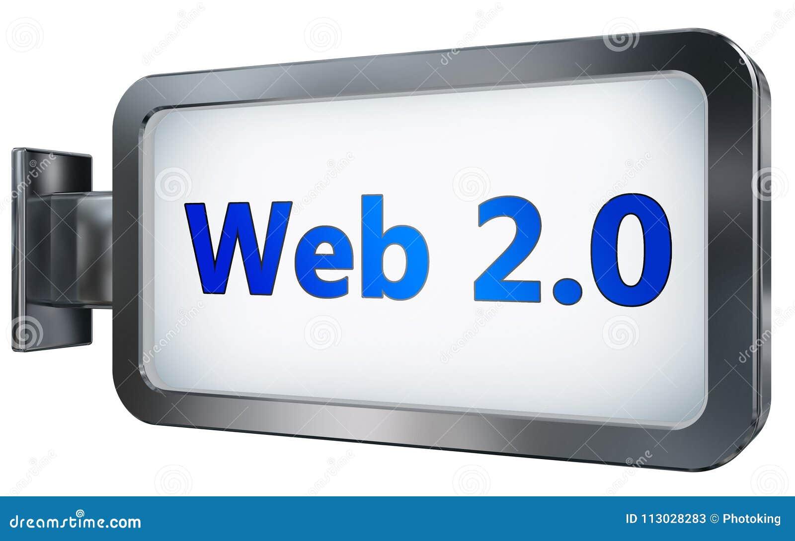Web 2 0 en fondo de la cartelera