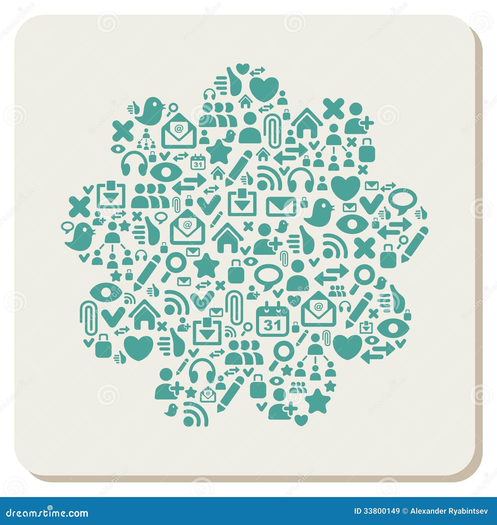 Web en sociale media pictogrammen abstracte achtergrond
