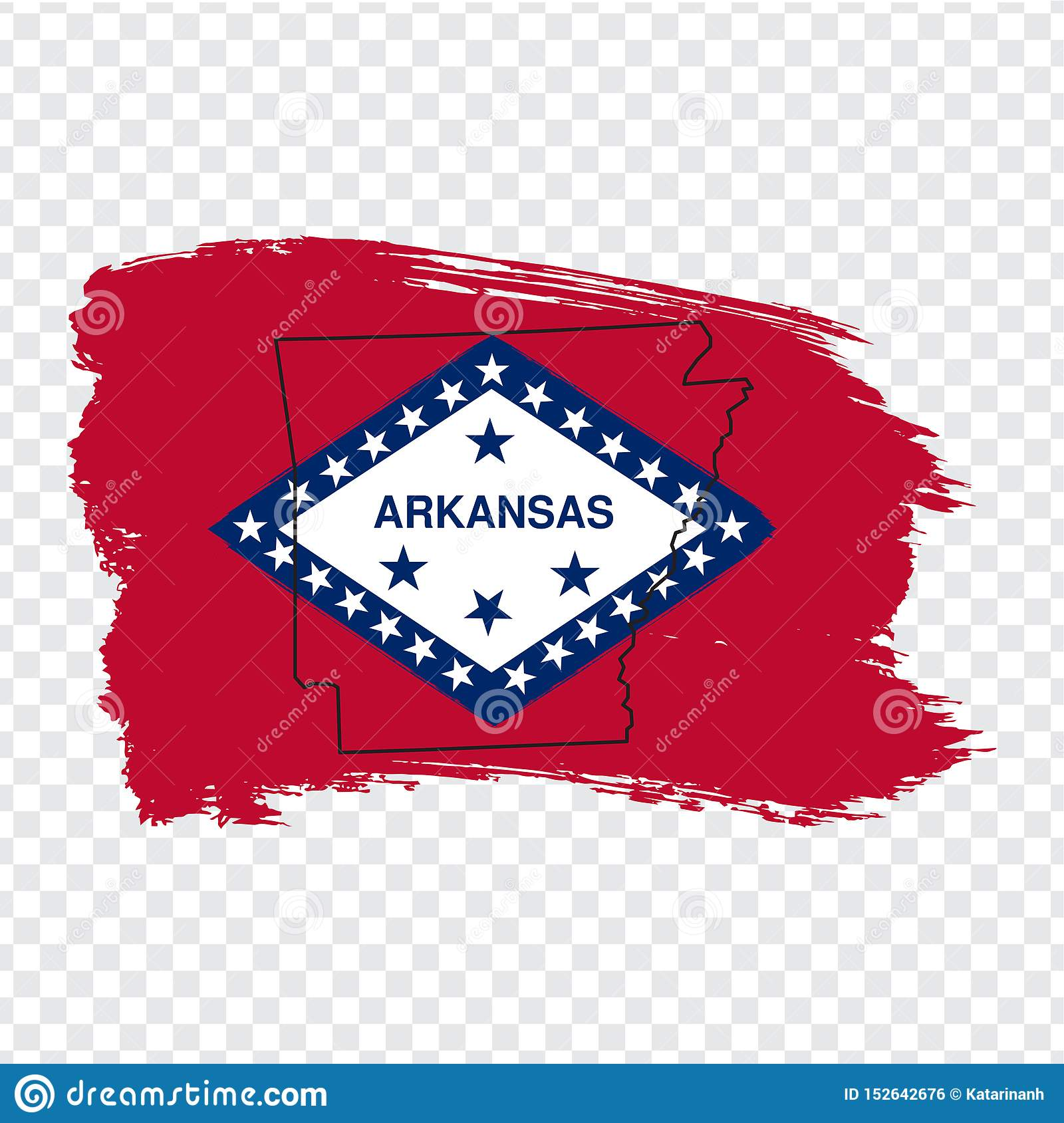 Flag Of Arkansas From Brush Strokes And Blank Map Of ...