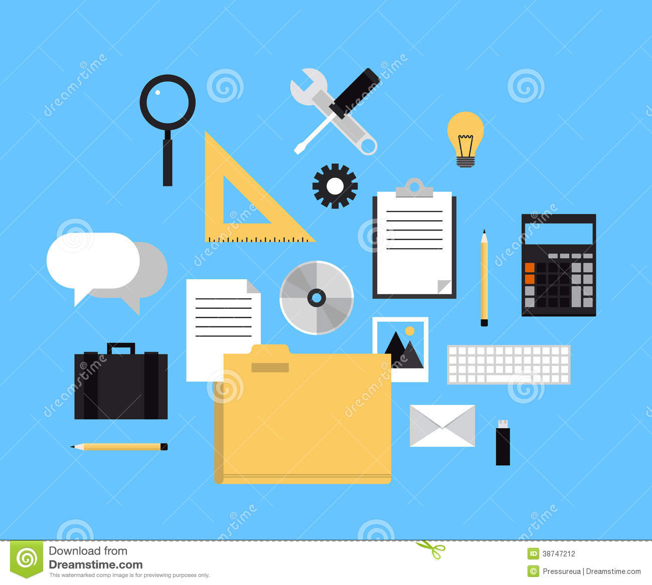 Web folder with office icons stock vector image 38747212 for Office design tool