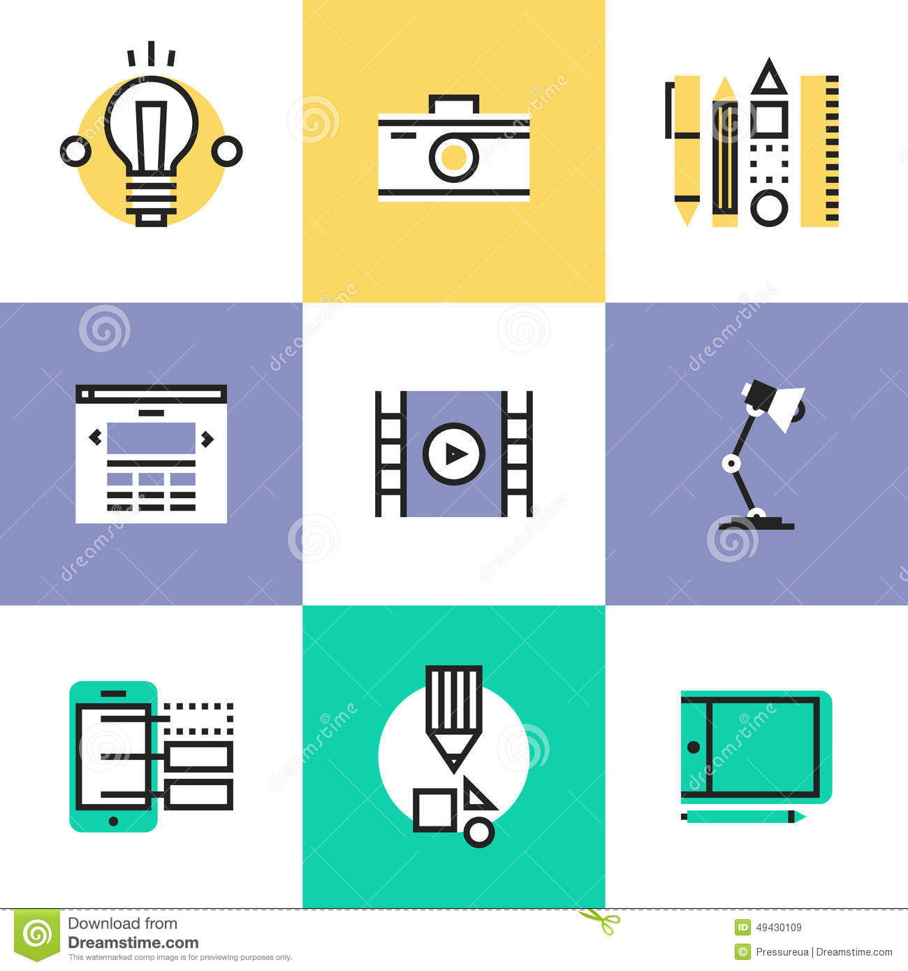 Web And Graphic Design Pictogram Icons Set Stock Vector