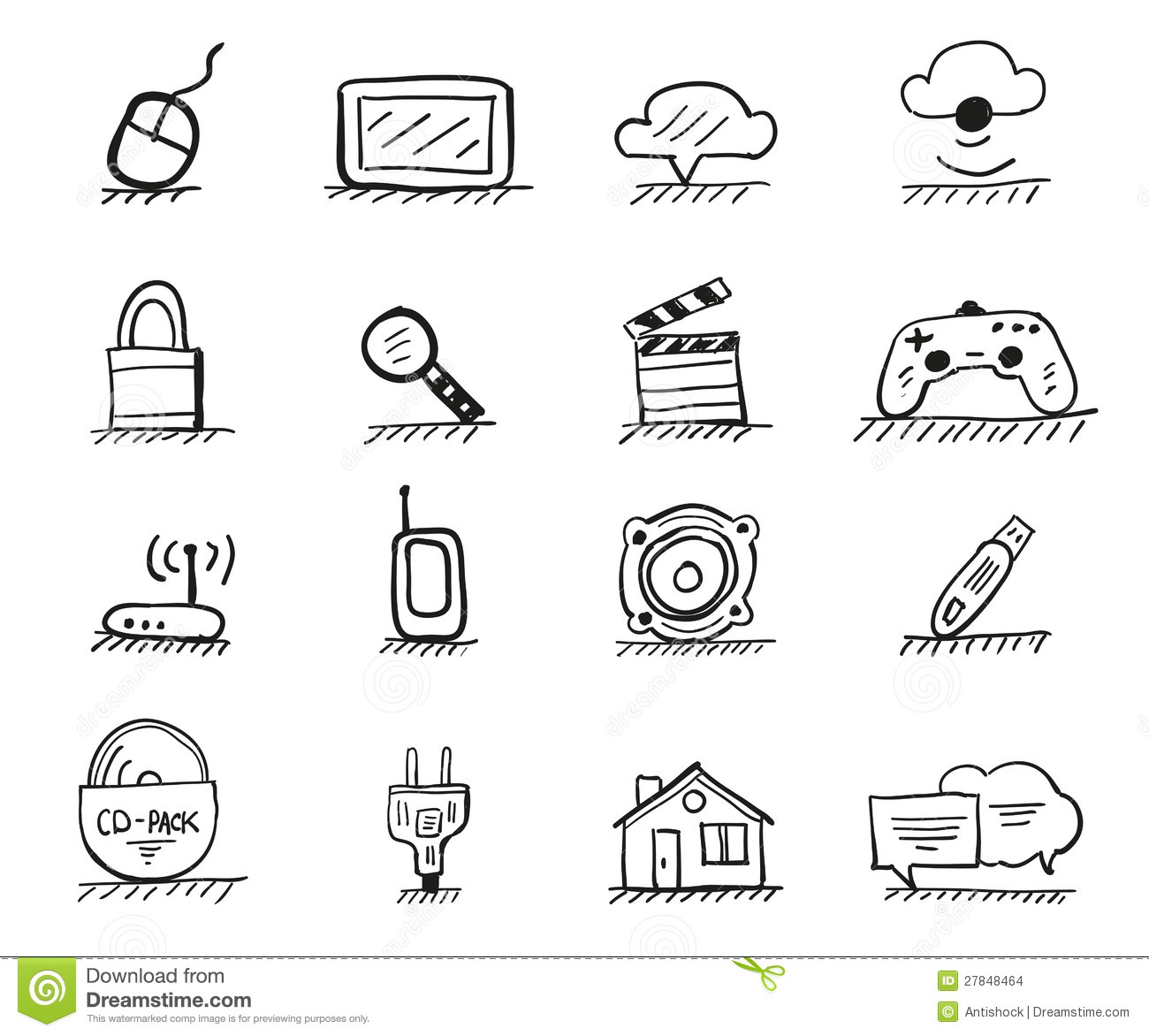 Hand Drawing Line Icons : Web hand drawn icons stock images image