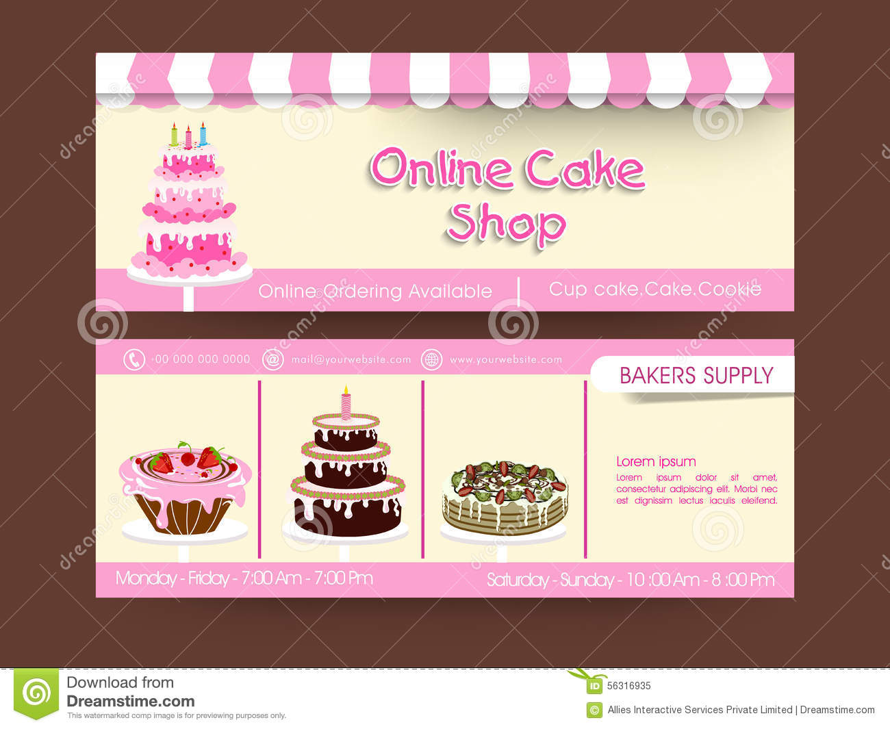 Cake Designs Website : Web Header Design For Cake Shop. Stock Illustration ...