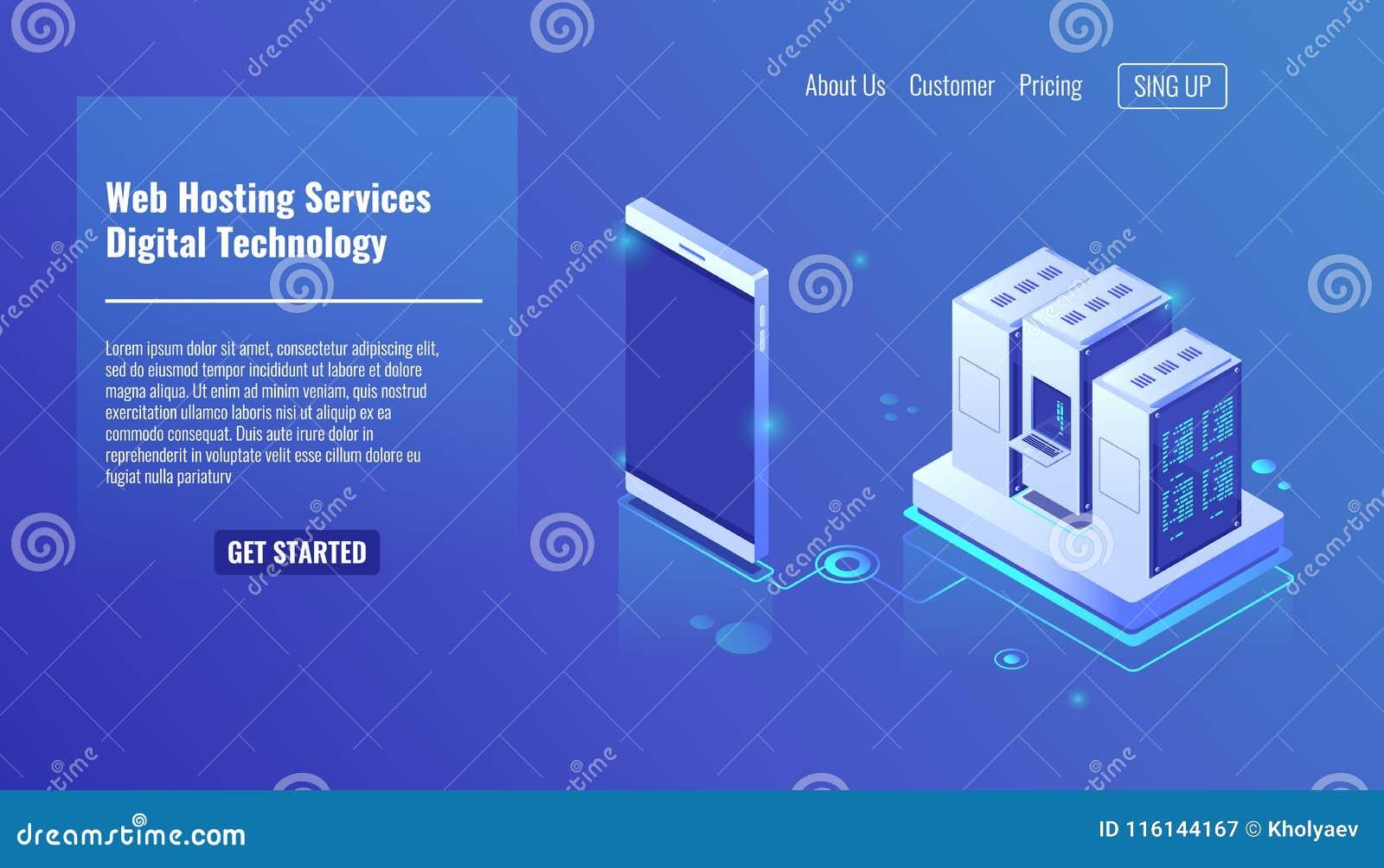 Web-Hosting-Dienstleistungen, isometrischer Serverraumvektor, Digitaltechnik, Servergestell, Abwehrdatei auf dem Wolkenspeicher,
