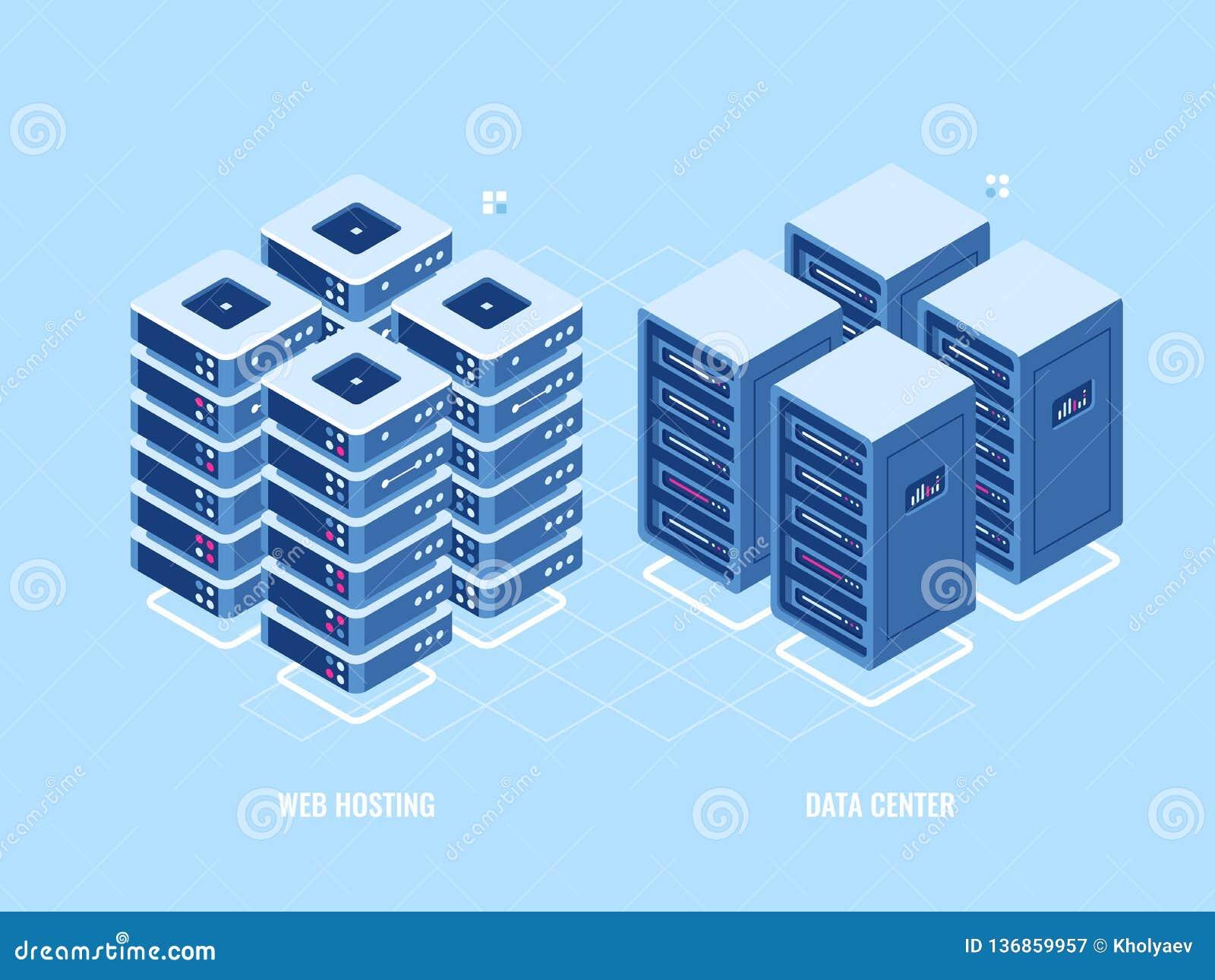 Web hosting server rack, isometric icon of database and data center, blockchain digital technology concept, cloud