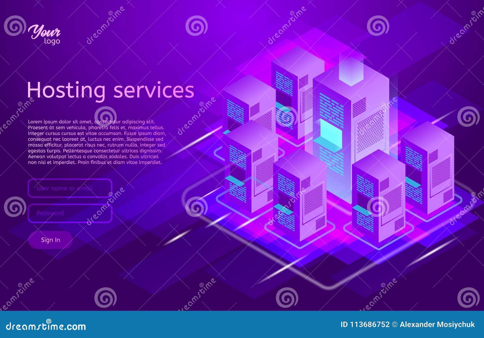 Web-Hosting und isometrische Vektorillustration des Rechenzentrums Konzept der großen Datenverarbeitung, Serverraumgestell,